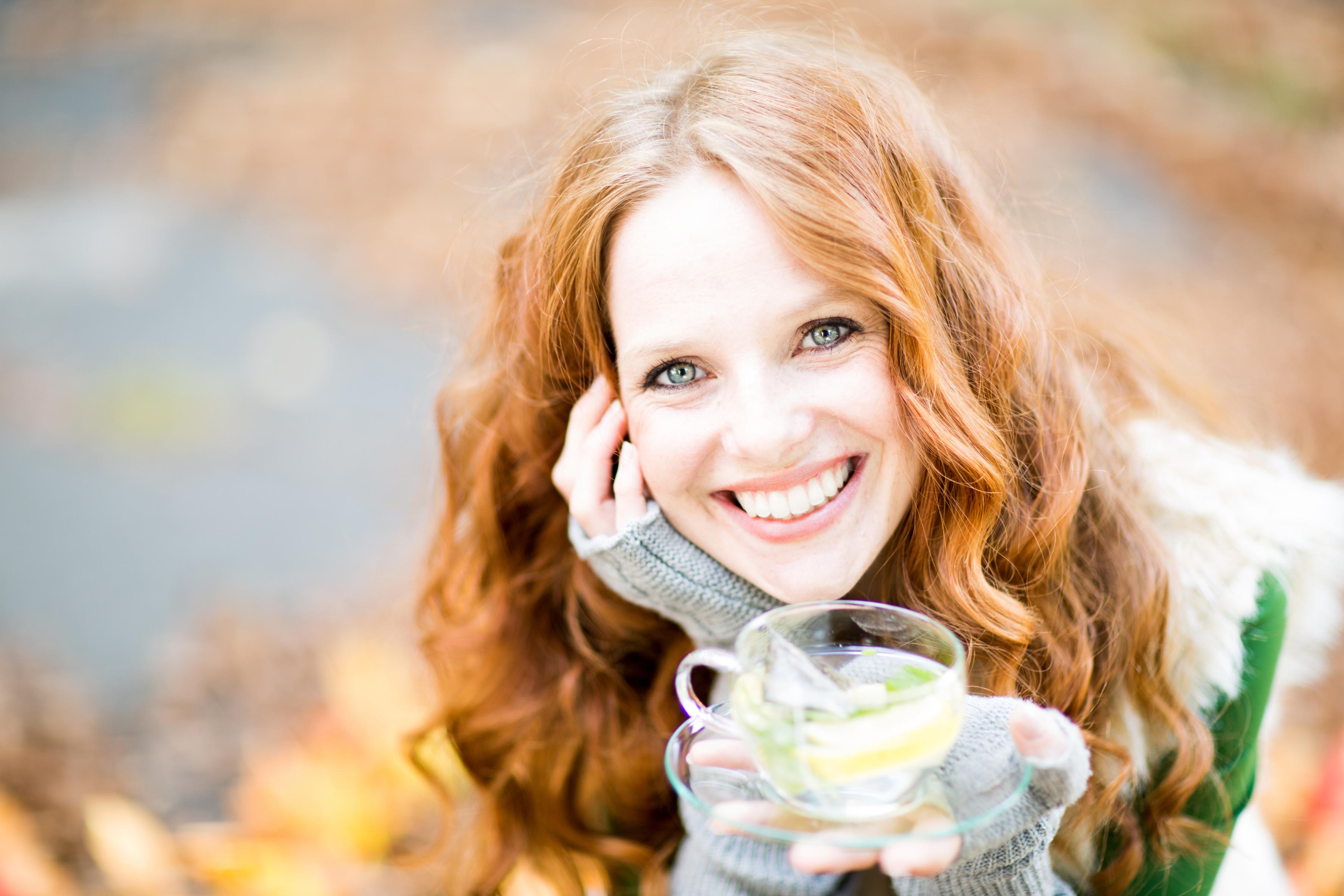 Depth Of Field Face Girl Model Redhead Smile Tea Woman 3600x2400