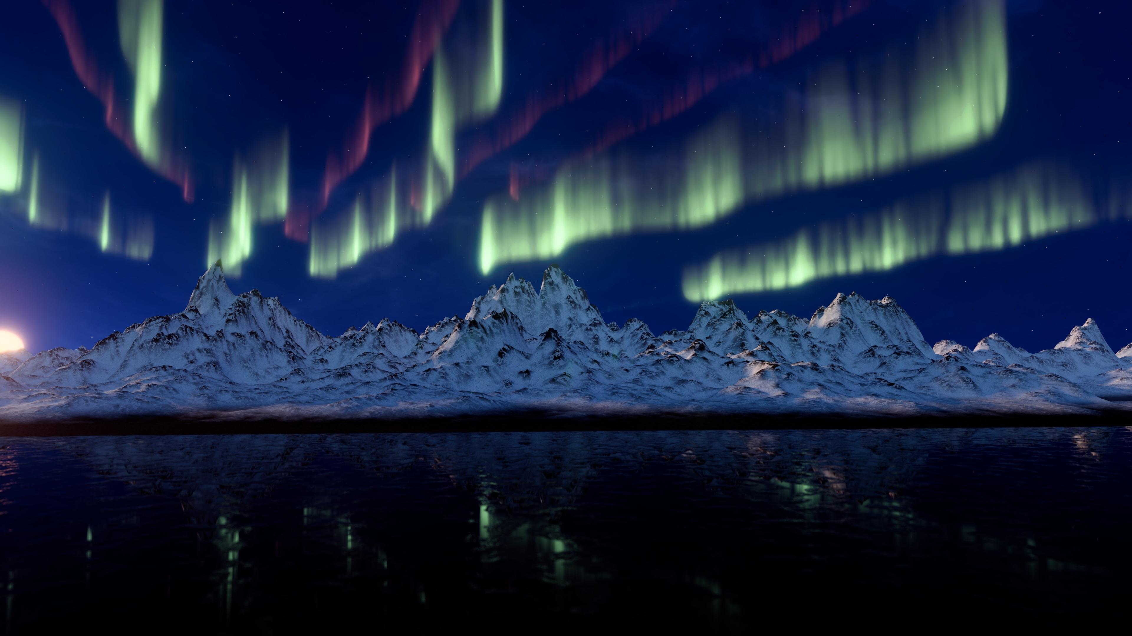 Aurora Borealis Earth Light Mountain Nature Snow 3840x2160