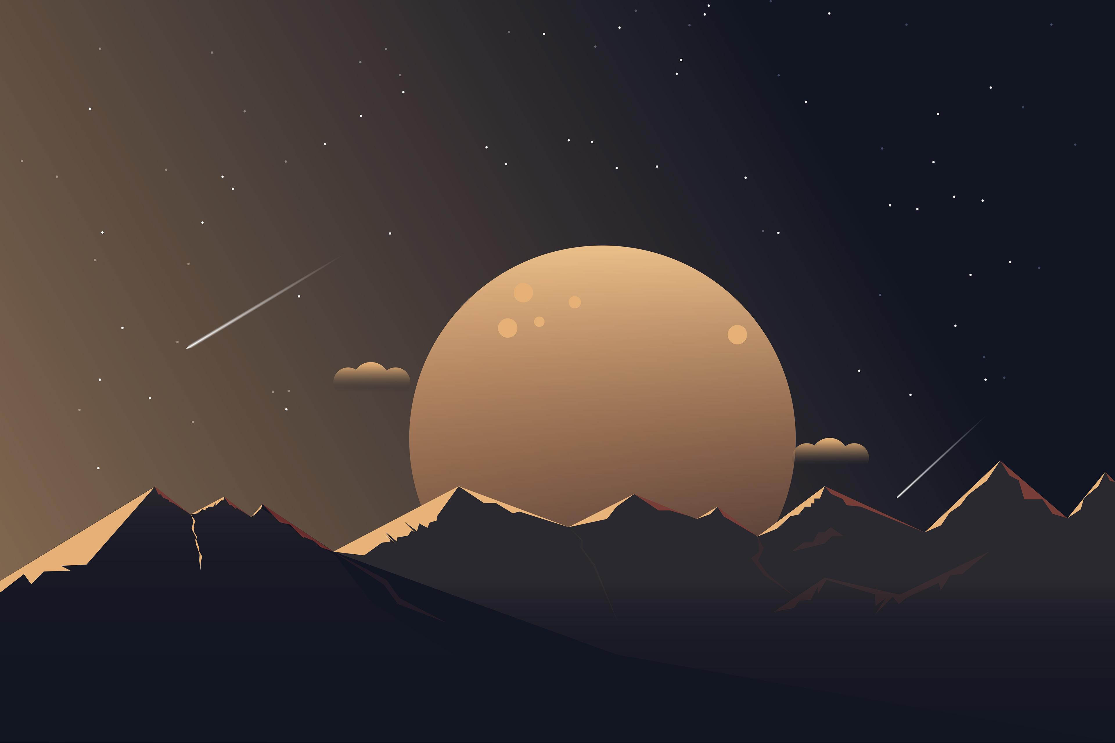 Minimalist Moon Mountain Nature Night 3840x2560