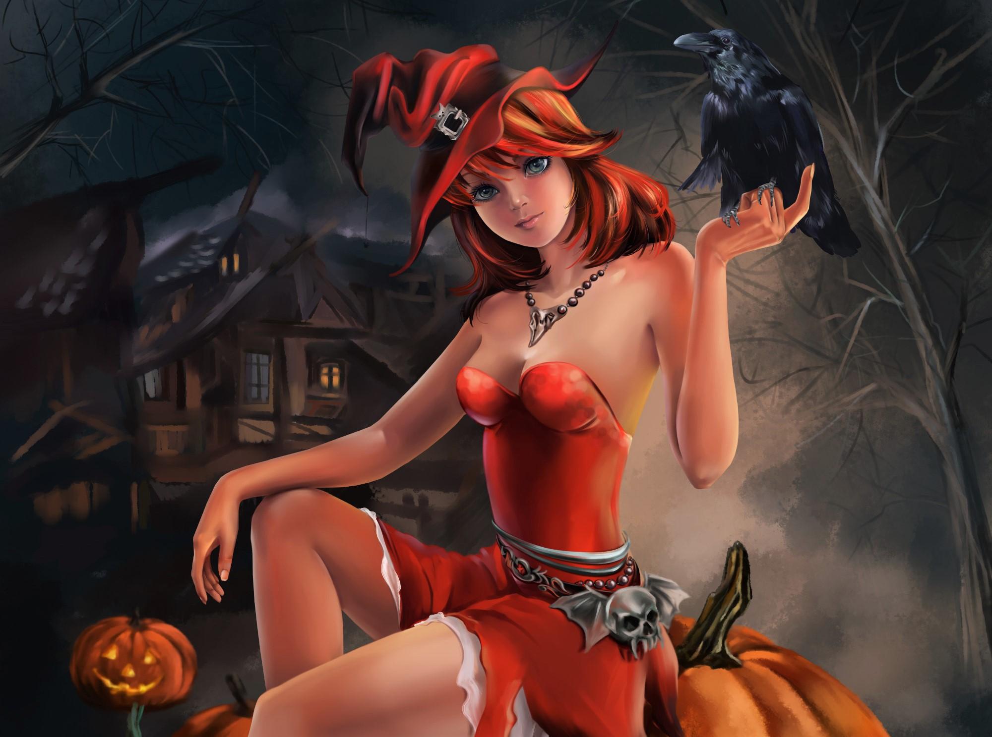 Halloween Haunted House Holiday Jack O 039 Lantern Orange Hair Raven Skull Witch Witch Hat 2000x1487