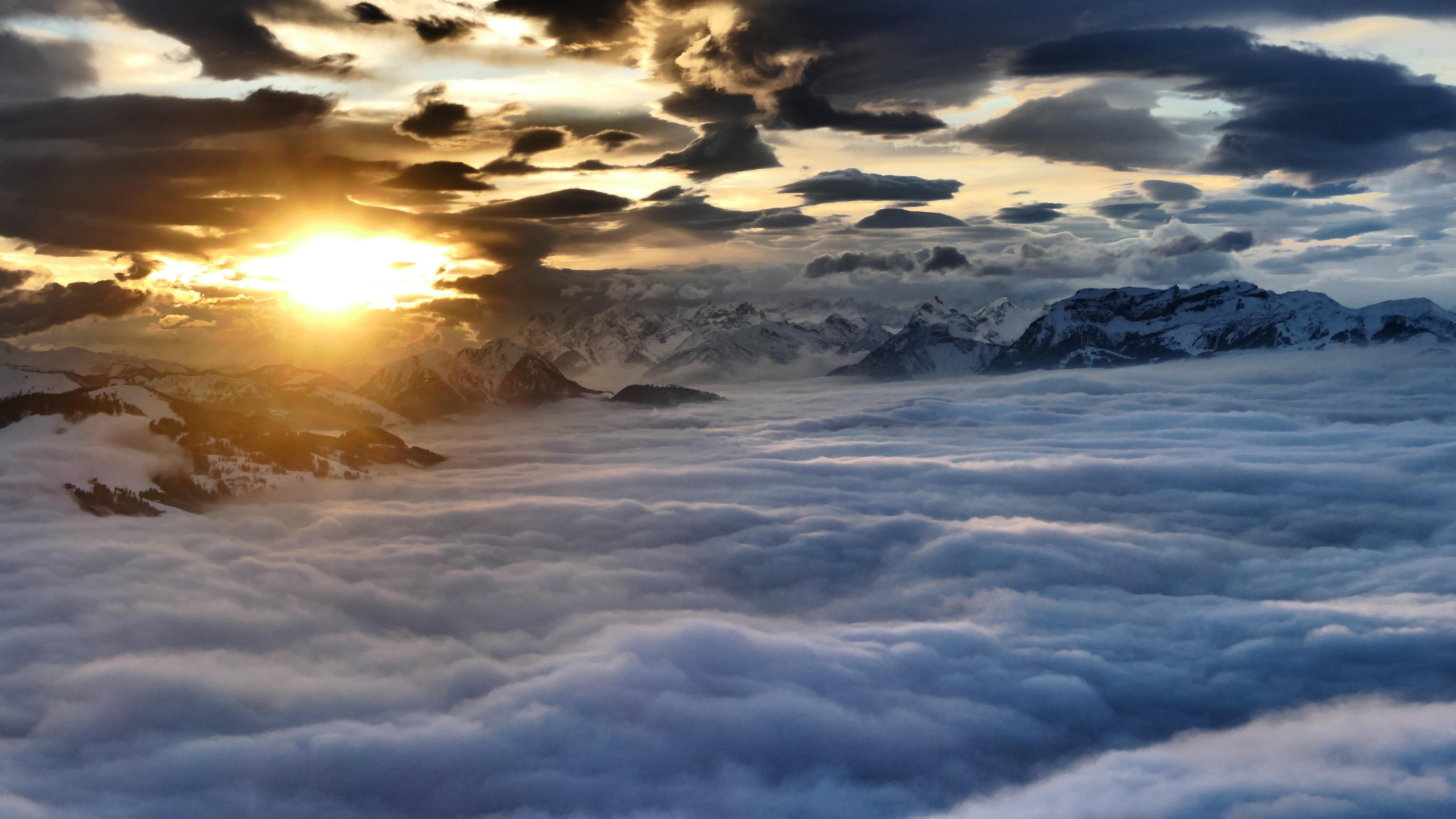 Aerial Austria Cloud Evening Mountain Sunset 5472x3080