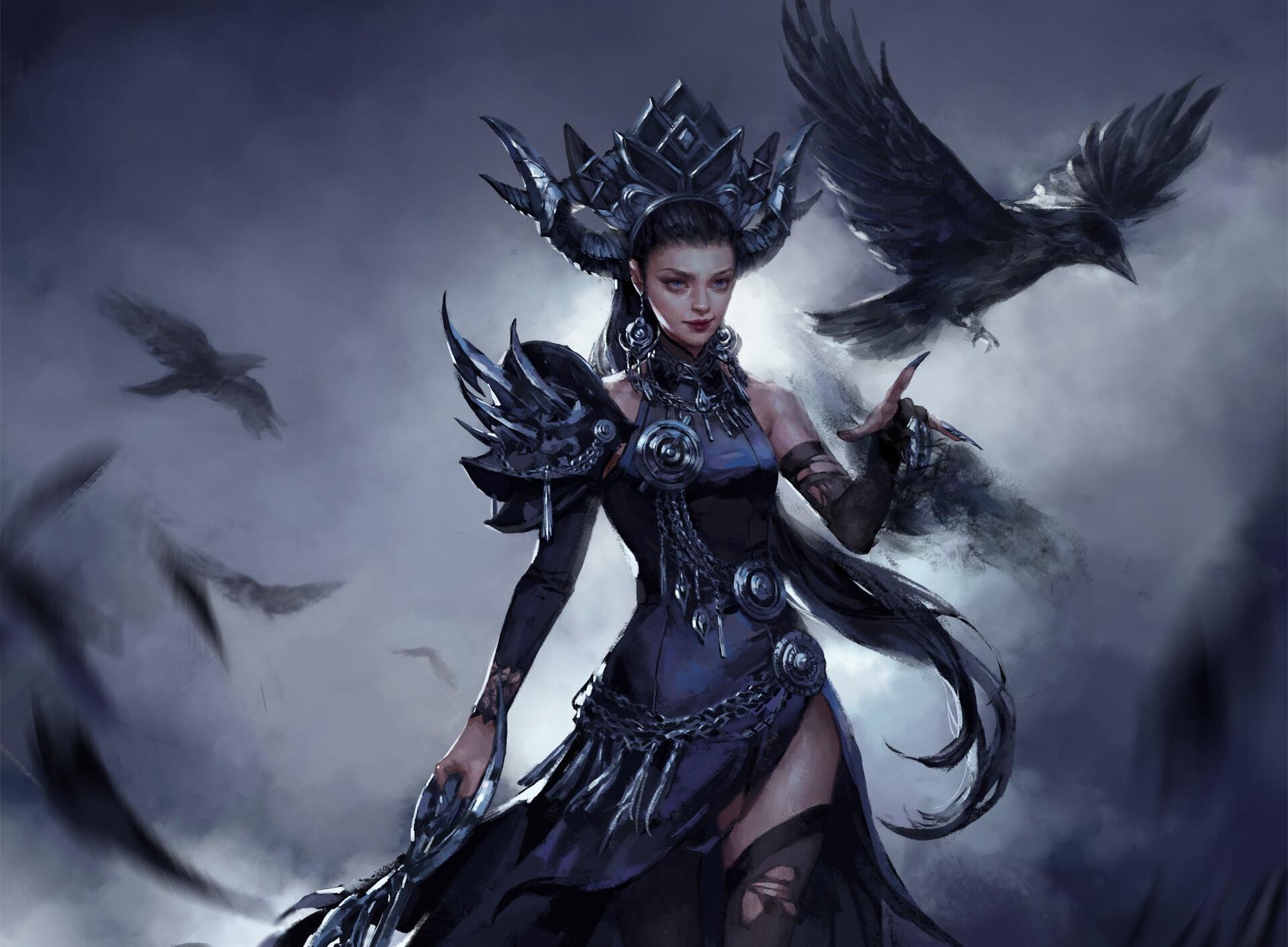 Bird Girl Raven Witch Woman 1920x1411