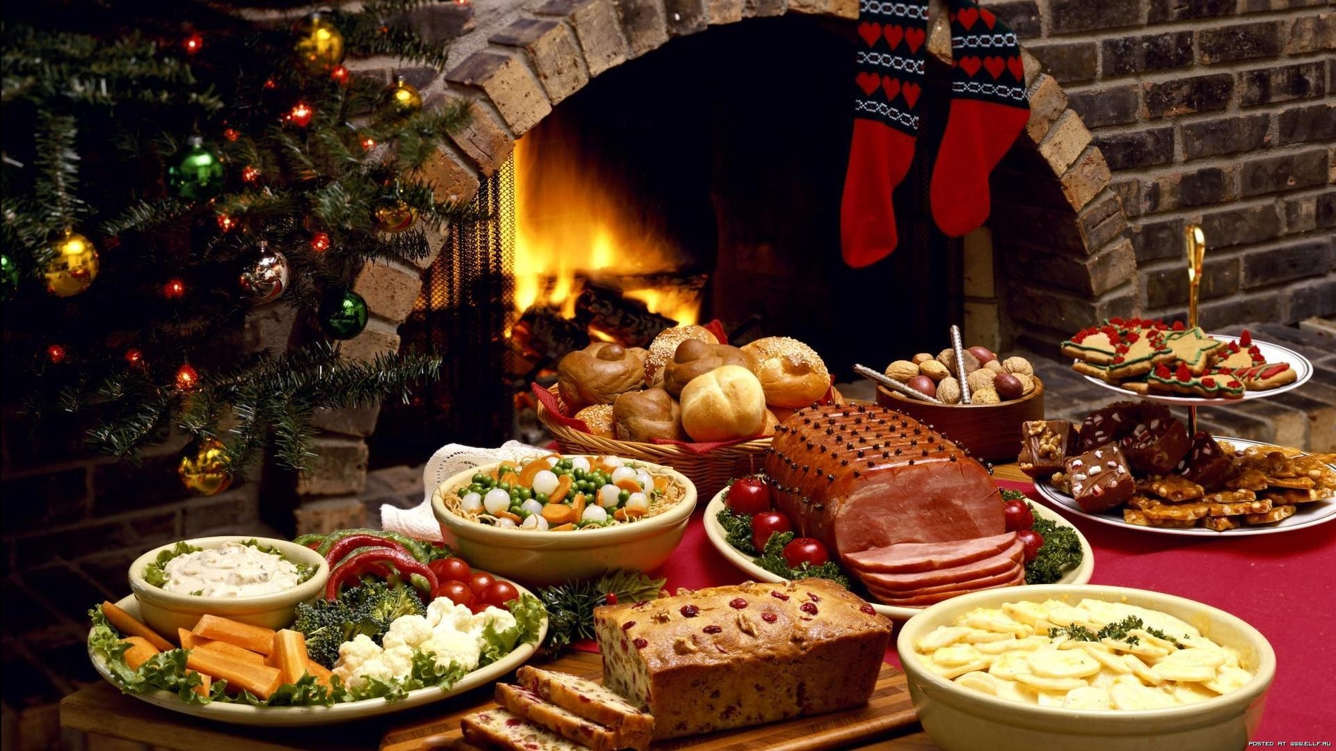 Christmas Christmas Ornaments Cookie Fireplace 1920x1080