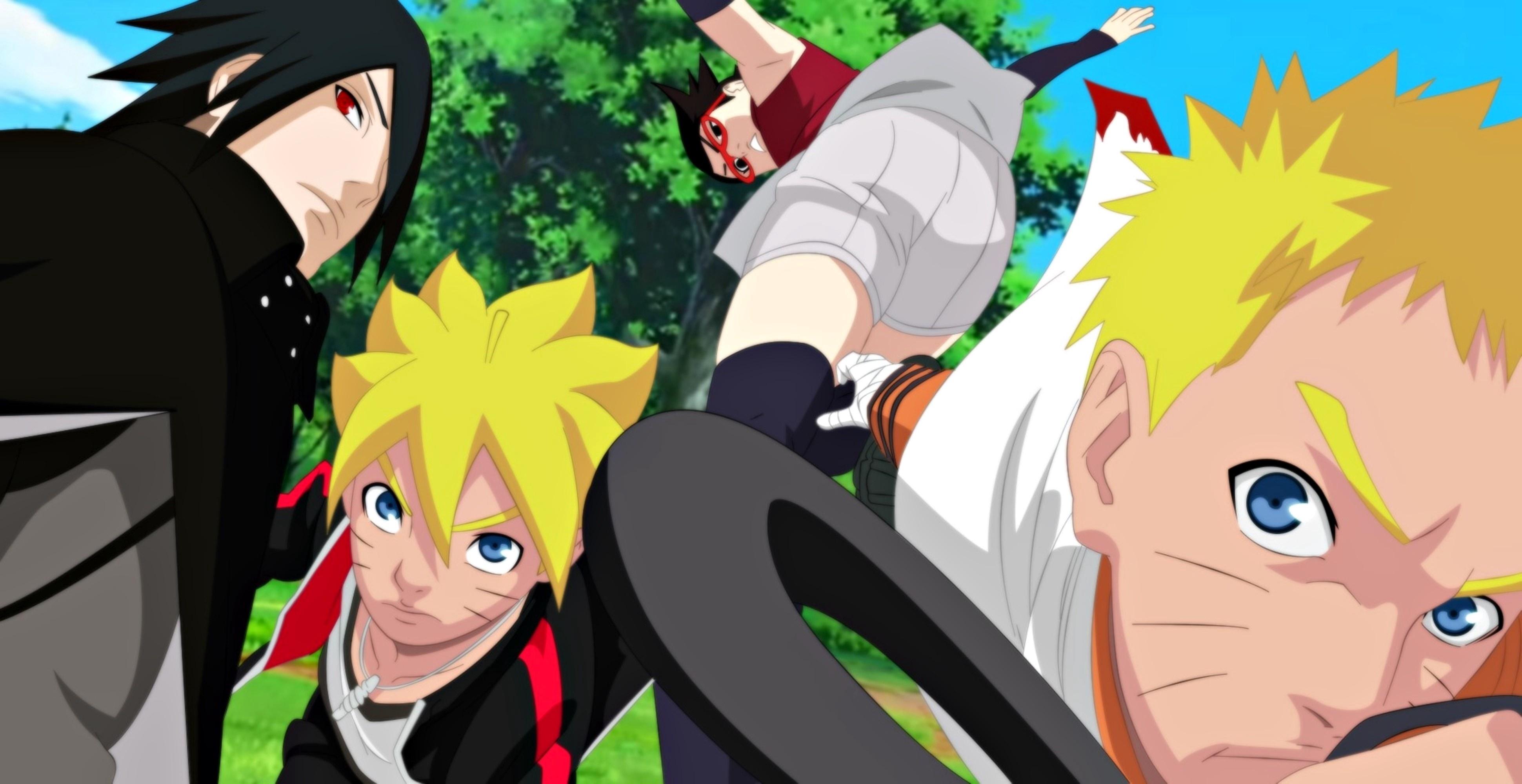 Boruto Uzumaki Naruto Naruto Uzumaki Sarada Uchiha Sasuke Uchiha 3881x2000