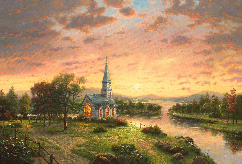 Chapel Church Landscape Painting Spring 3000x2034