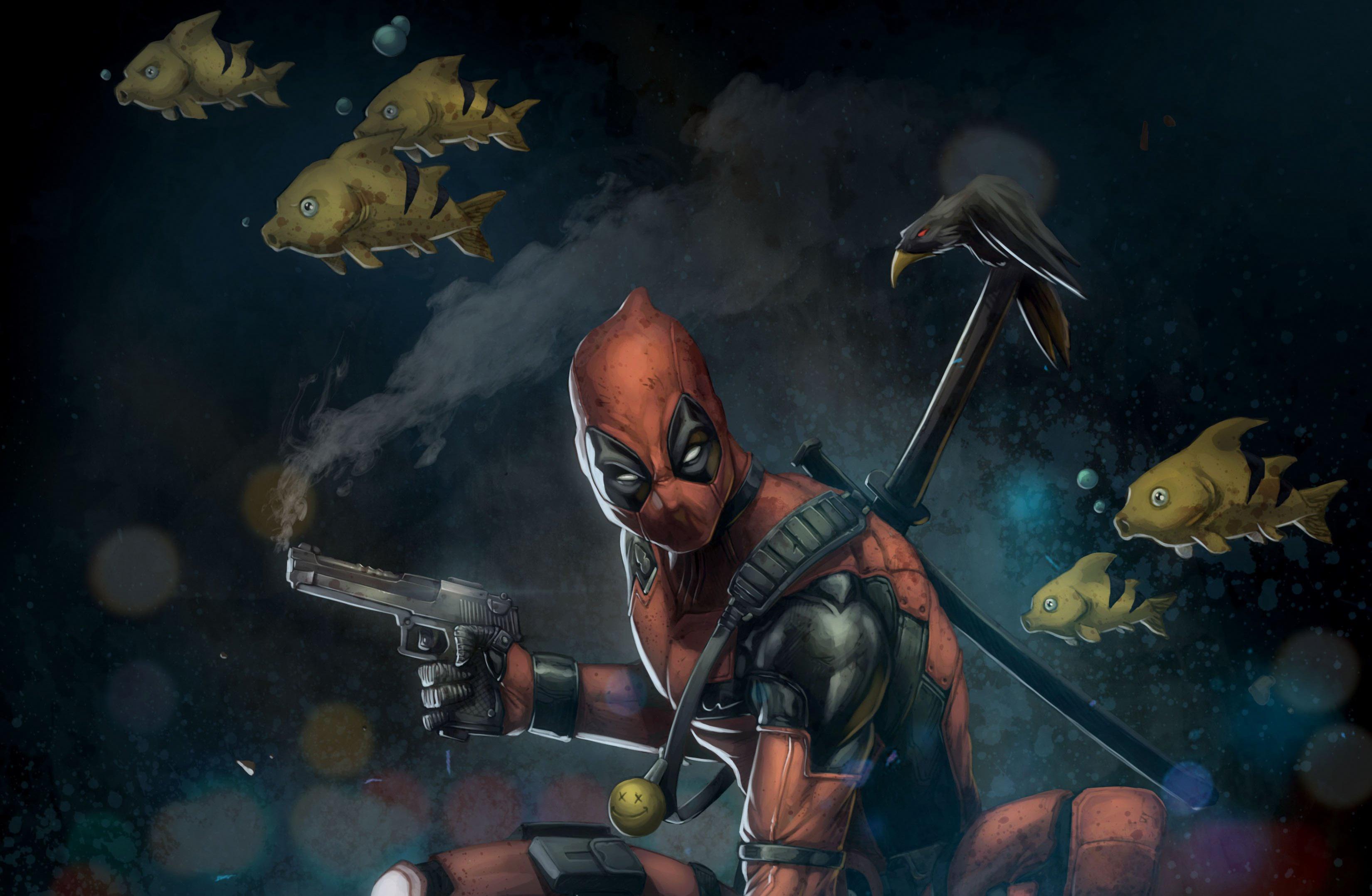 Deadpool Fish Gun Marvel Comics Raven 3300x2155