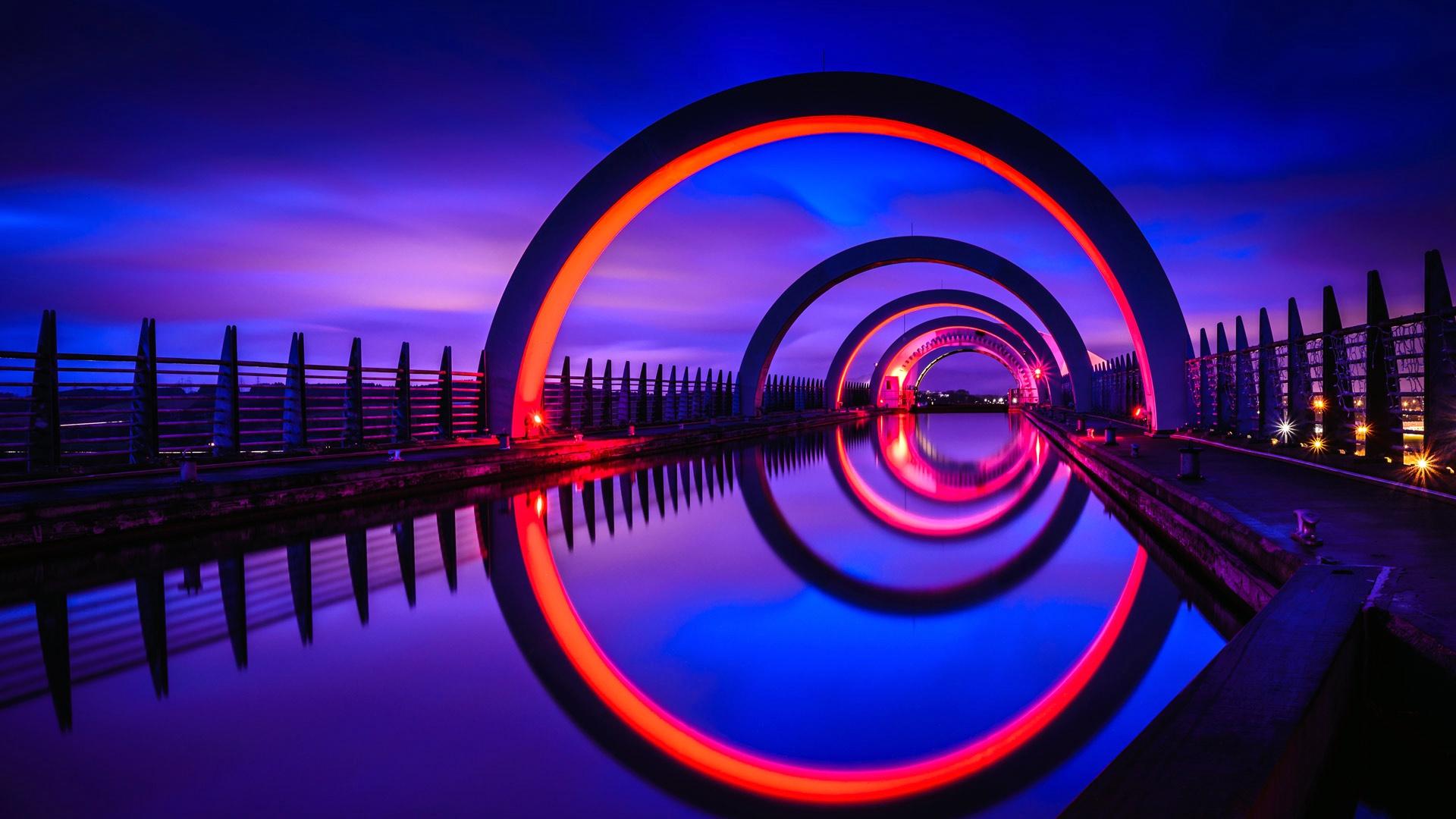 Falkirk Wheel Light Night Reflection Scotland 1920x1080