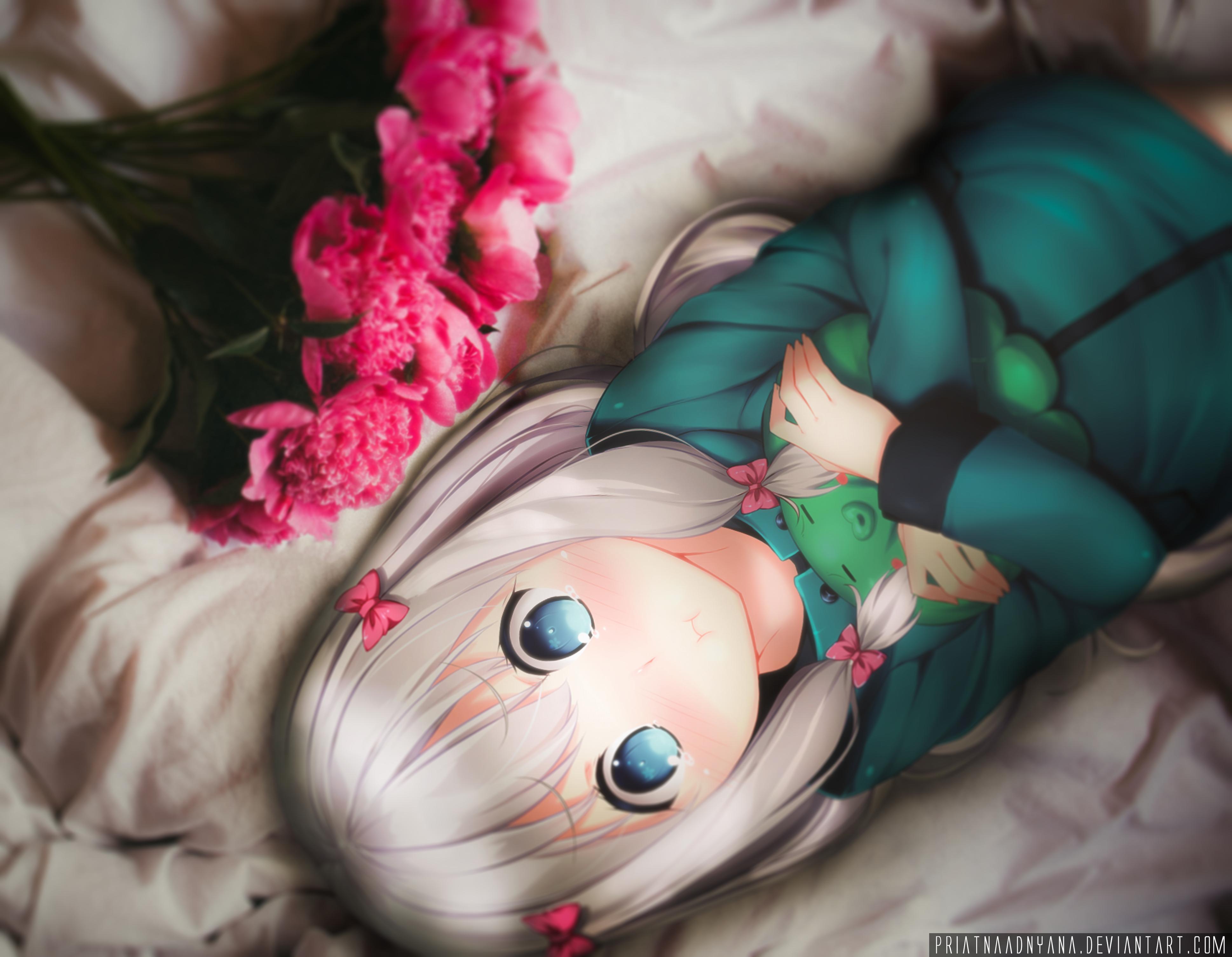 Blue Eyes Eromanga Sensei Girl Sagiri Izumi White Hair 3877x3012