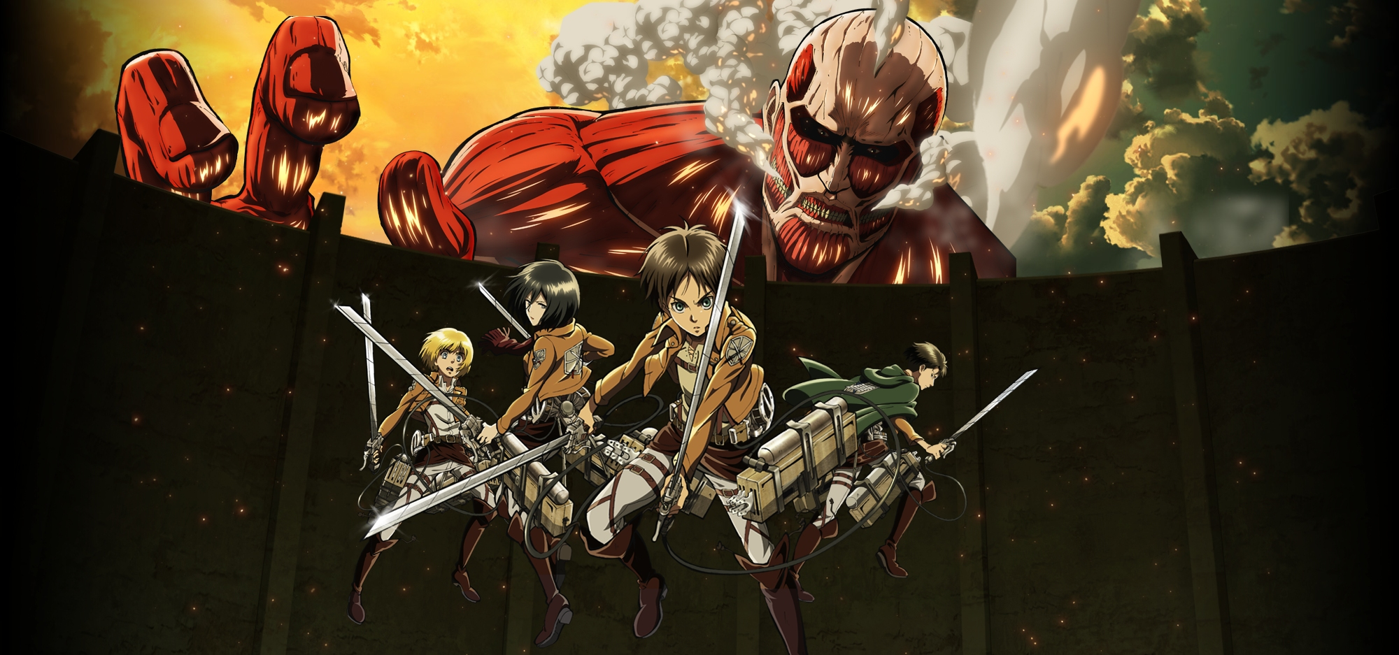 Armin Arlert Colossal Titan Eren Yeager Levi Ackerman Mikasa Ackerman Wallpaper Resolution 2000x937 Id 1004276 Wallha Com