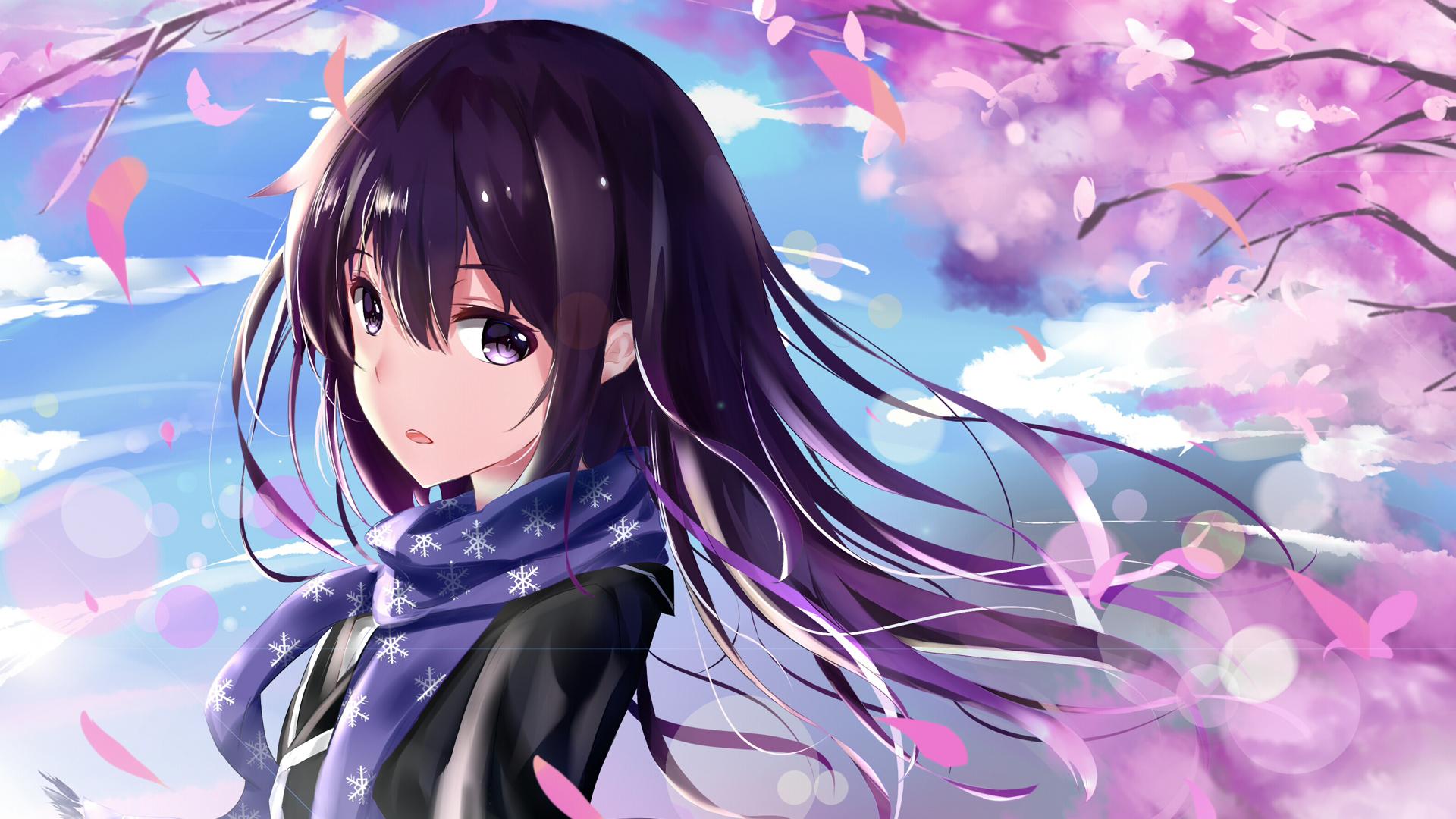 Blossom Girl Long Hair Purple Eyes Purple Hair Scarf Yukino Yukinoshita 1920x1080