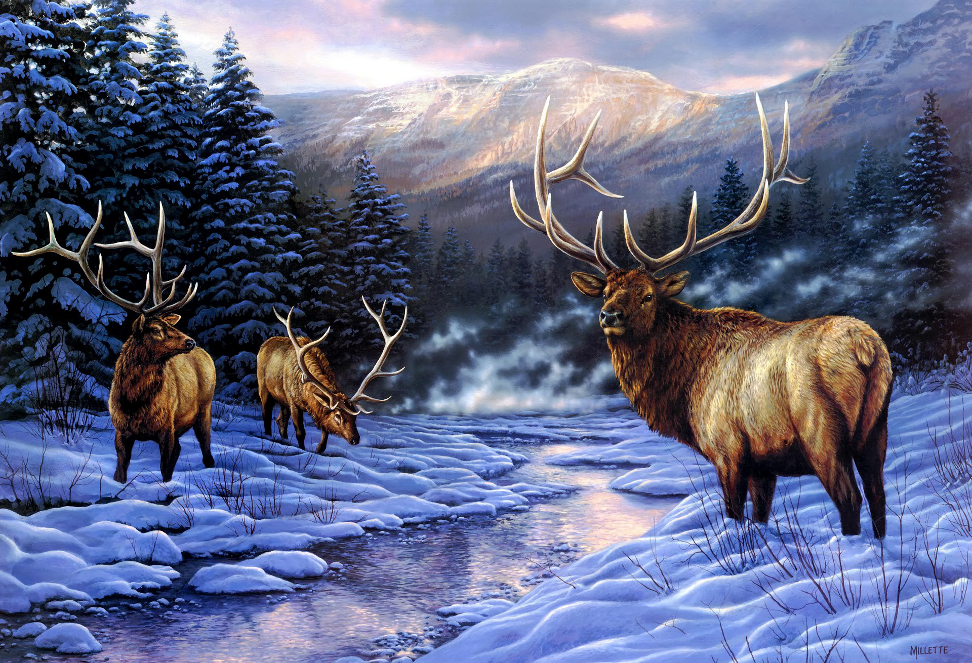 Artistic Buck Deer Forest Painting River Snow Tree Winter 1920x1310
