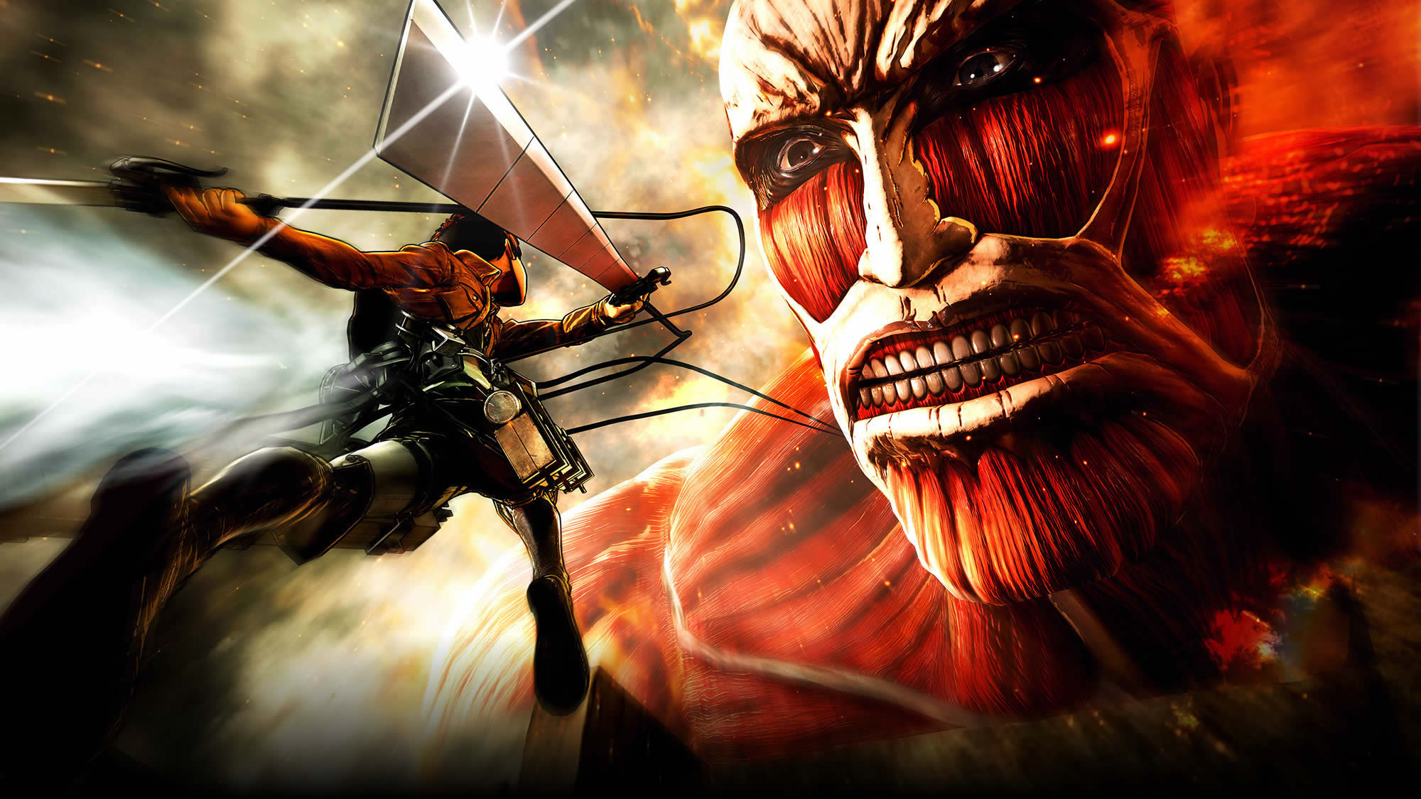 Attack On Titan Blade Colossal Titan Eren Yeager Weapon Wallpaper Resolution 2000x1125 Id 1083472 Wallha Com