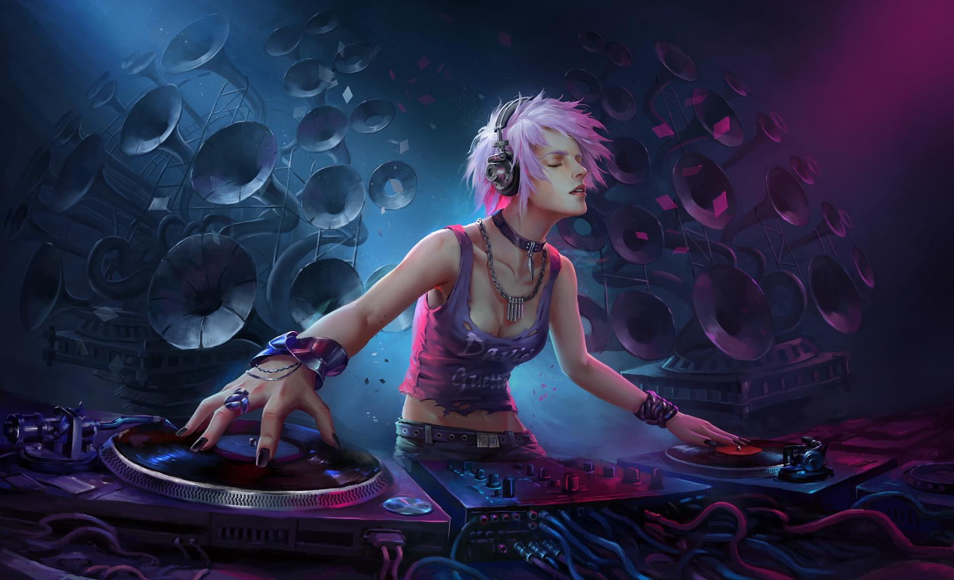Dj Girl Headphones Pink Hair Short Hair Speakers Woman 1920x1169