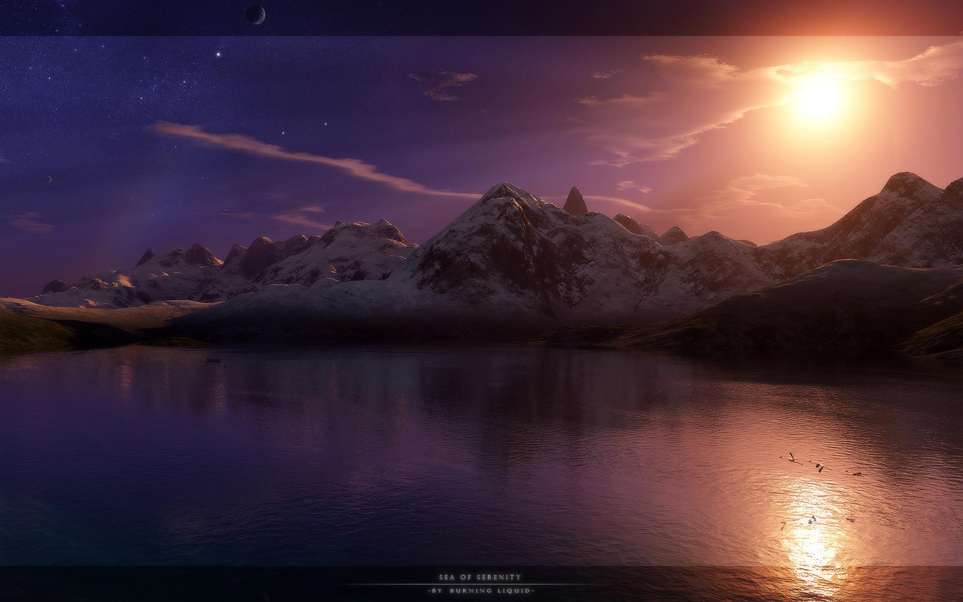 3d Landscape Moon Mountain Night Sea Water 1920x1200