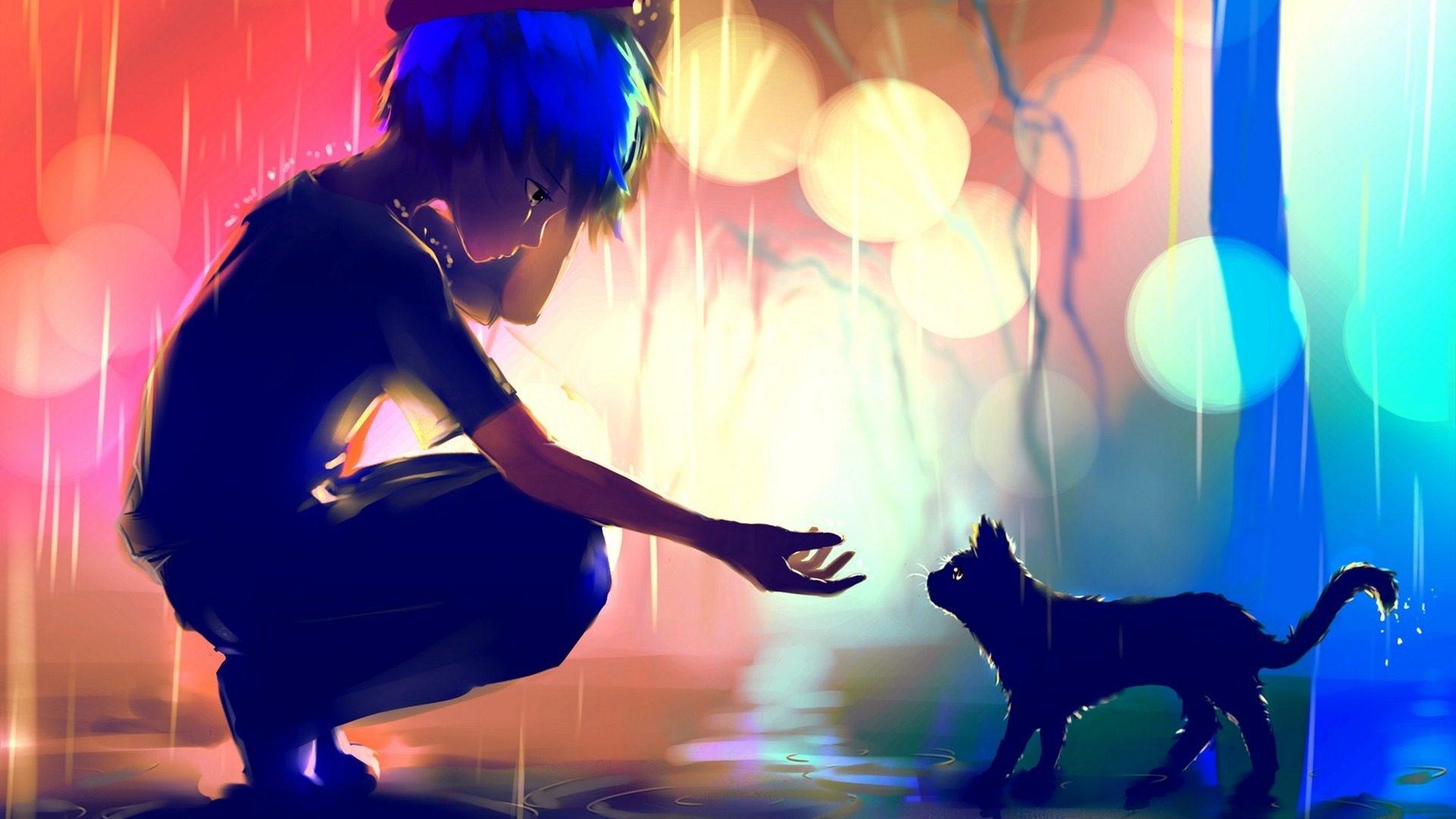 Blue Hair Boy Cat Glow Original Anime Rain 1920x1080