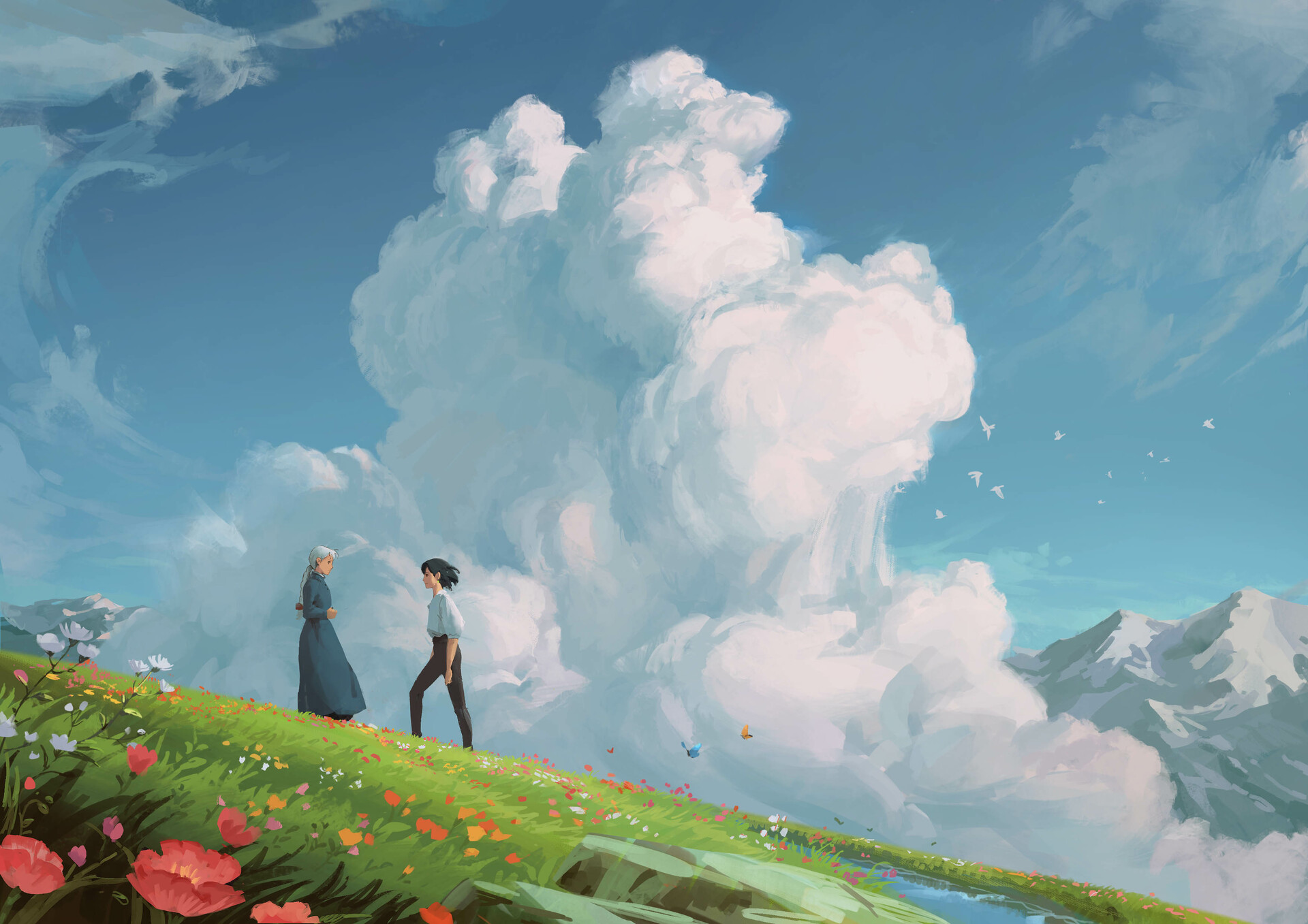 Artistic Boy Cloud Girl Howl 039 S Moving Castle 1920x1357
