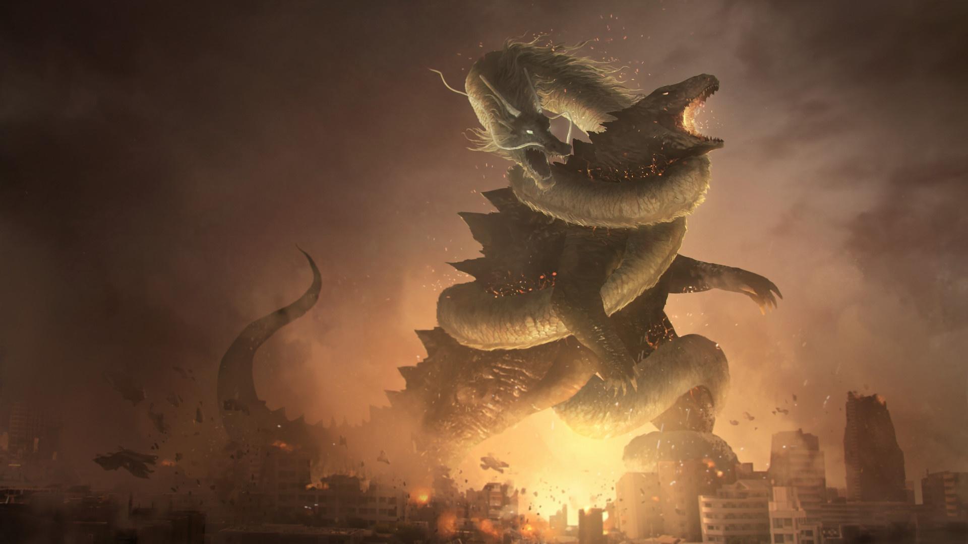 Battle Dragon Godzilla Kaiju Lao Shan Lung 1920x1080