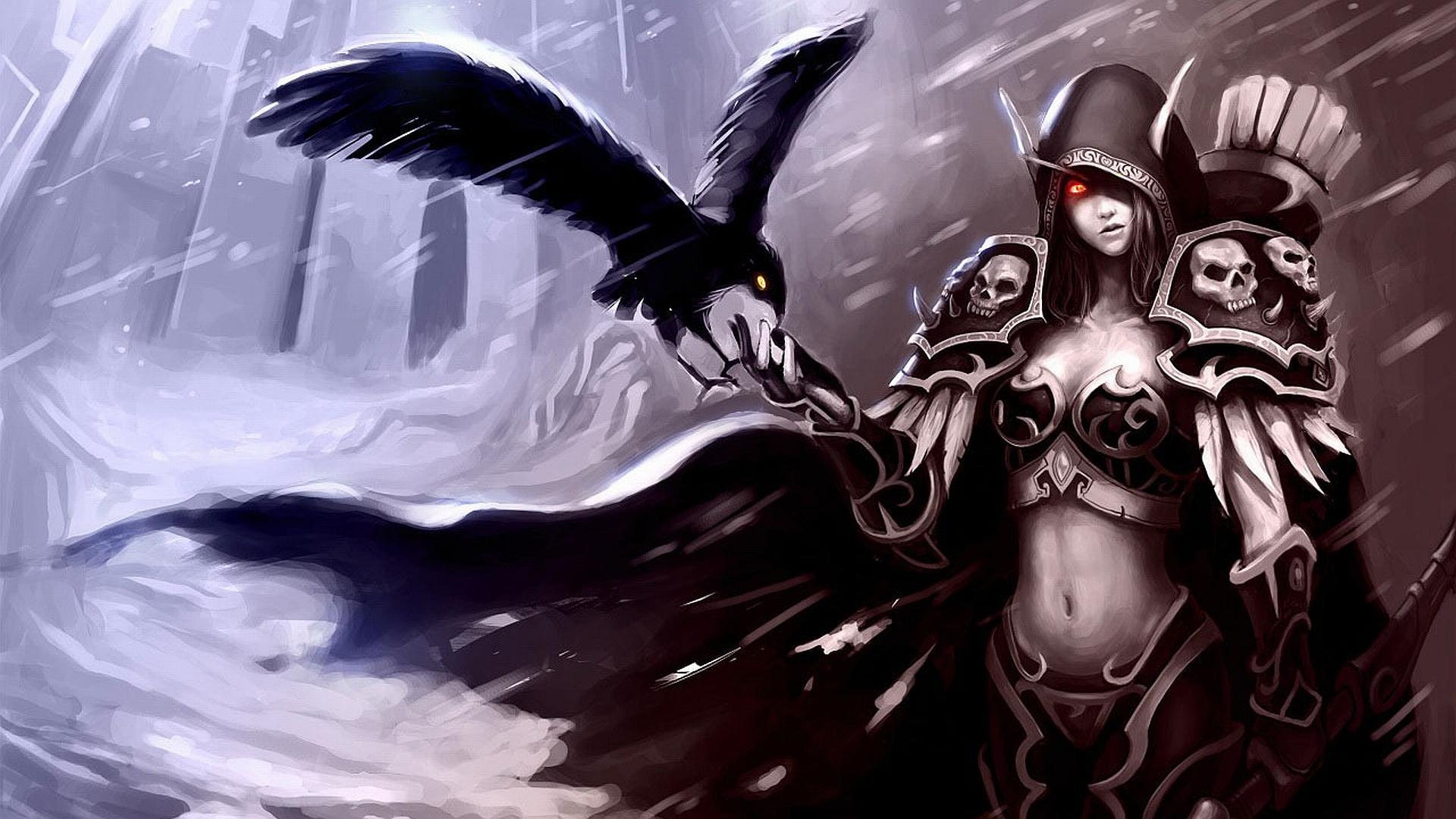 Armor Gothic Rain Raven Sylvanas Windrunner 1920x1080