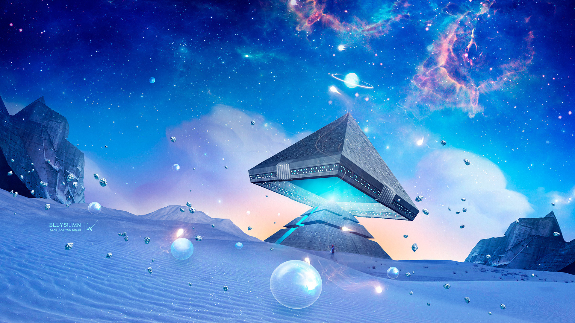 Building Girl Planet Pyramid Sand Starry Sky 1920x1080