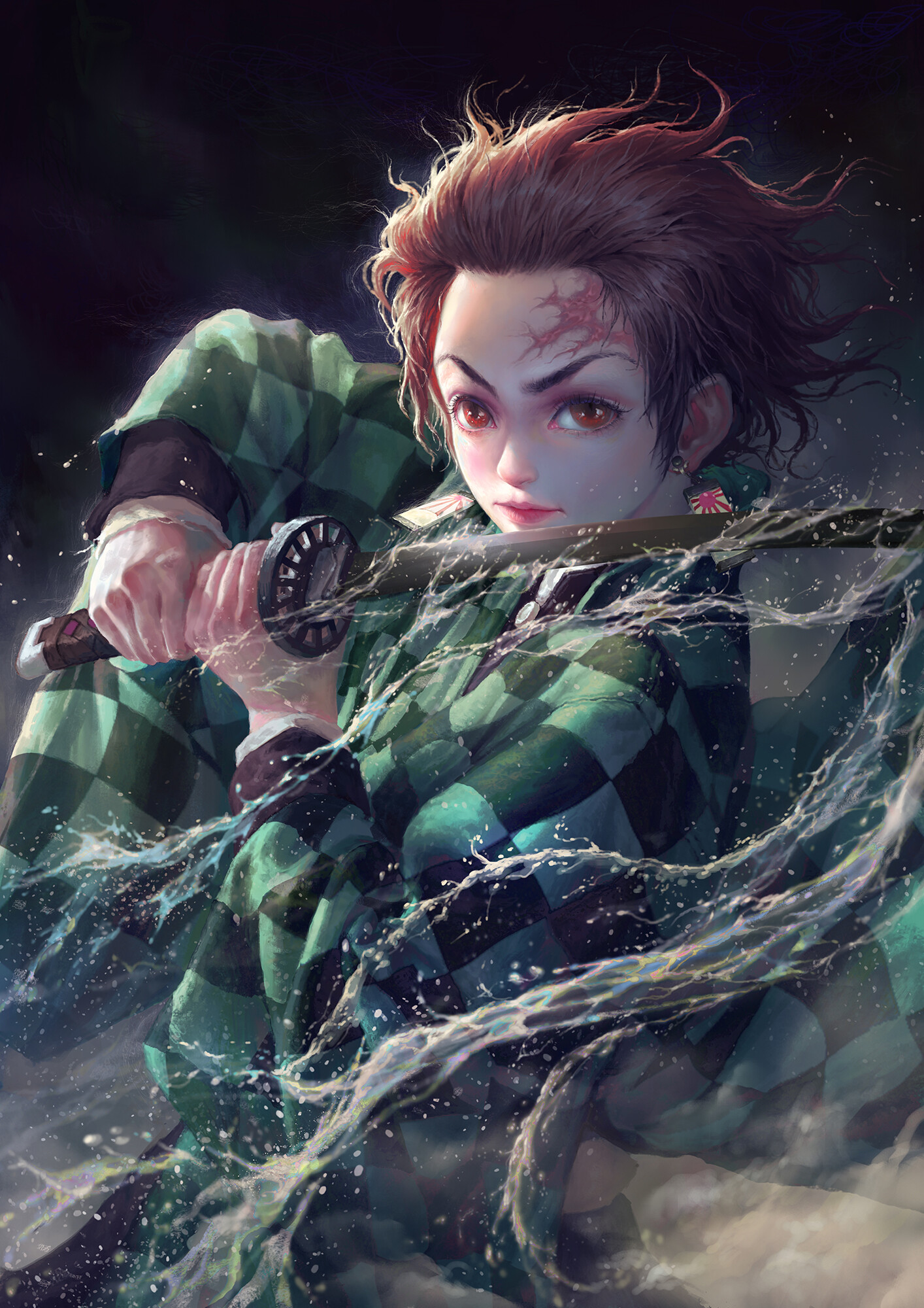 Katana Kimetsu No Yaiba Portrait Display Water Digital Art Digital Painting Fan Art Artwork Anime Dr 1414x2000