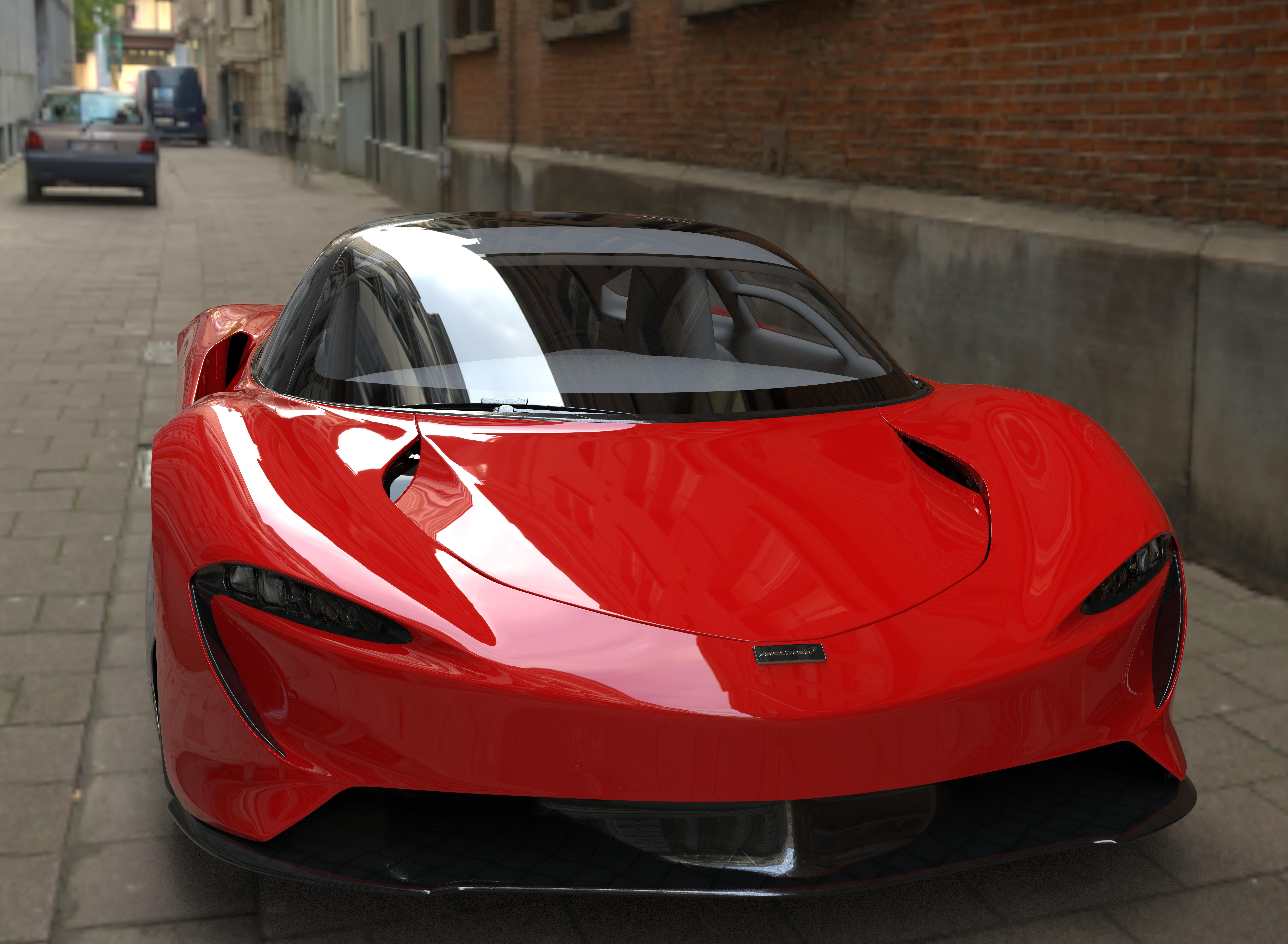 McLaren Speedster 2020 3D Graphics Red Candy Hypercar Car 8 K 7680x5628