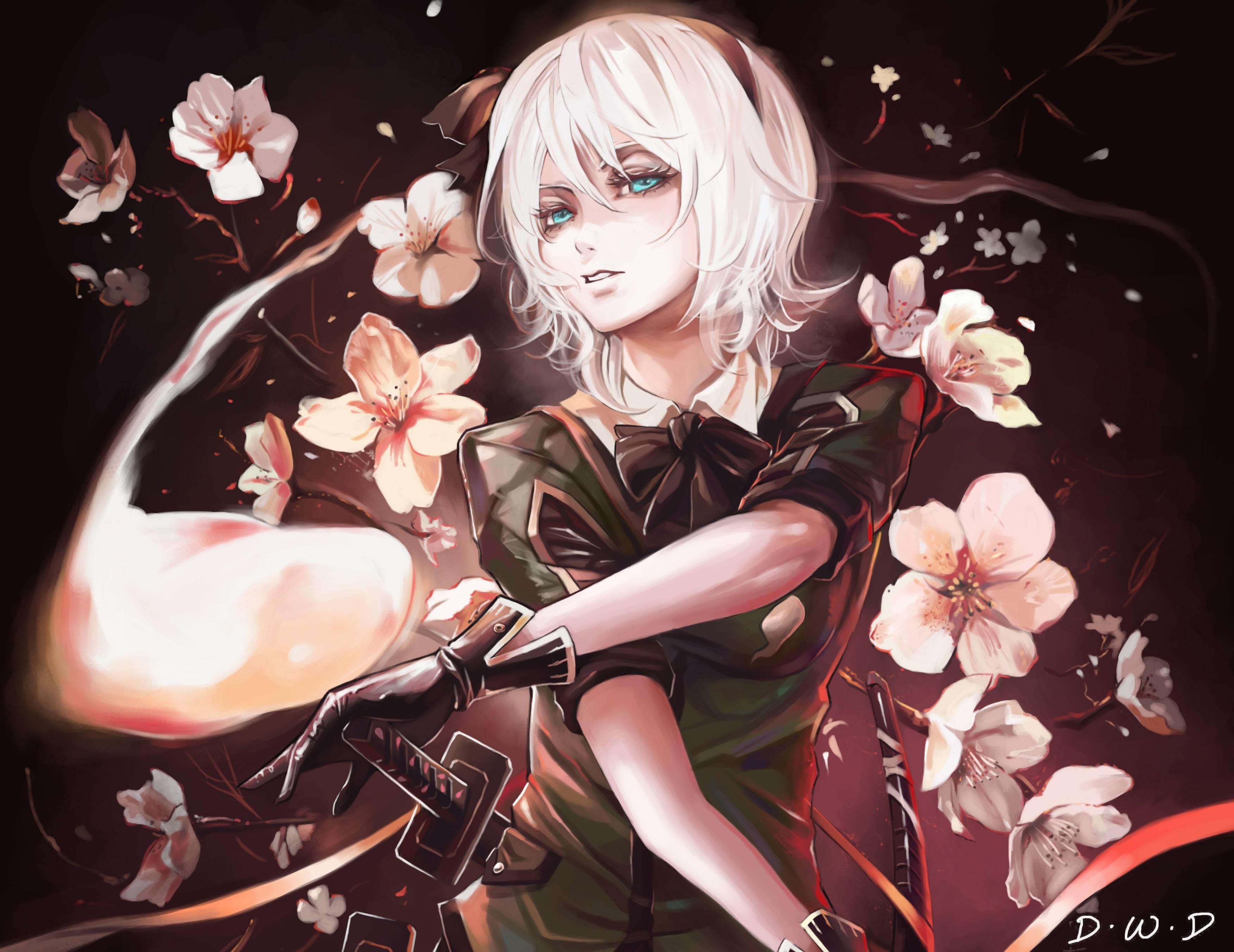 Aqua Eyes Girl White Hair Youmu Konpaku 3504x2704