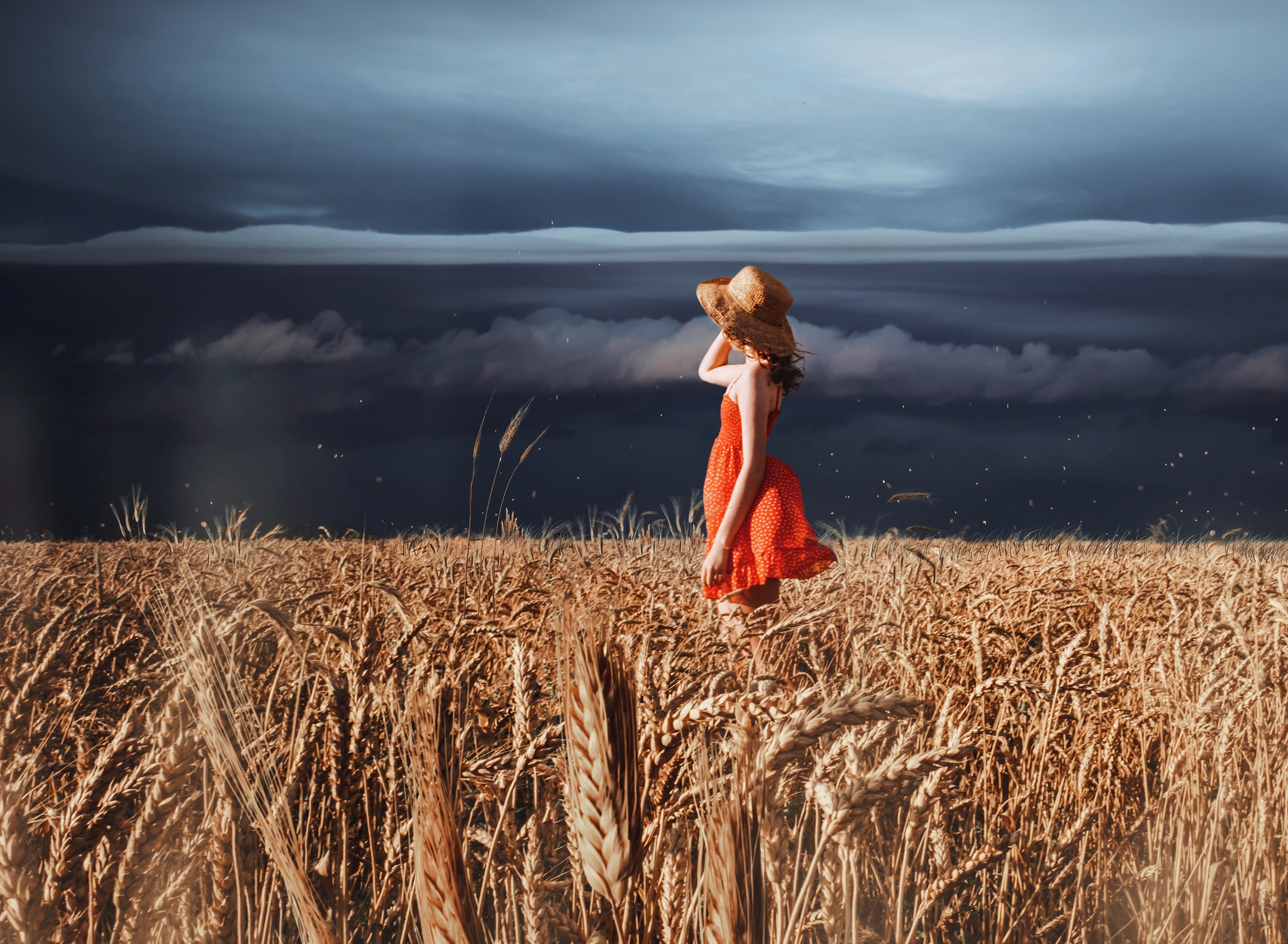 Cloud Field Girl Hat Mood Red Dress Summer Wheat Woman 2560x1877