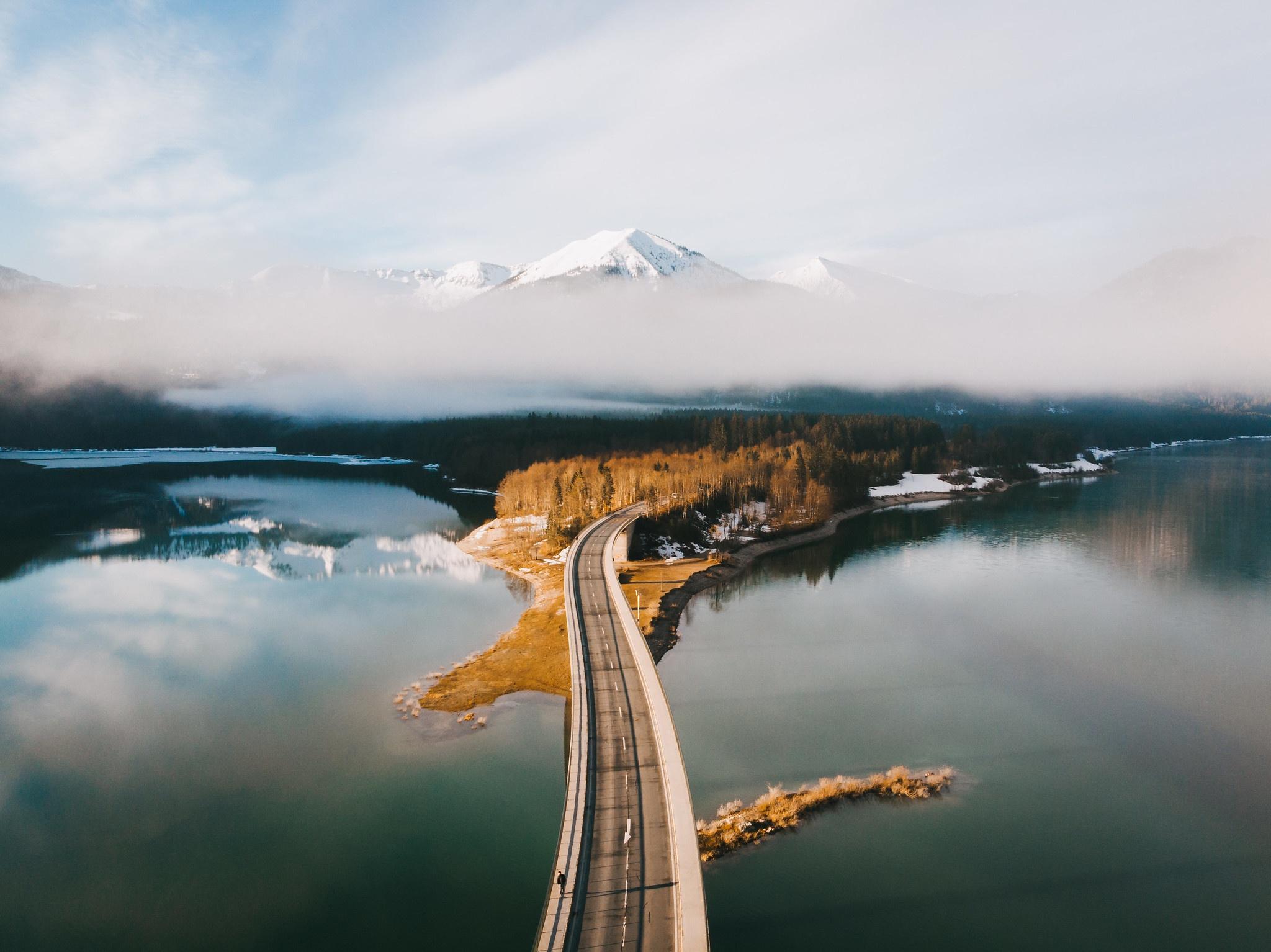 Aerial Fog Nature Road 2048x1534