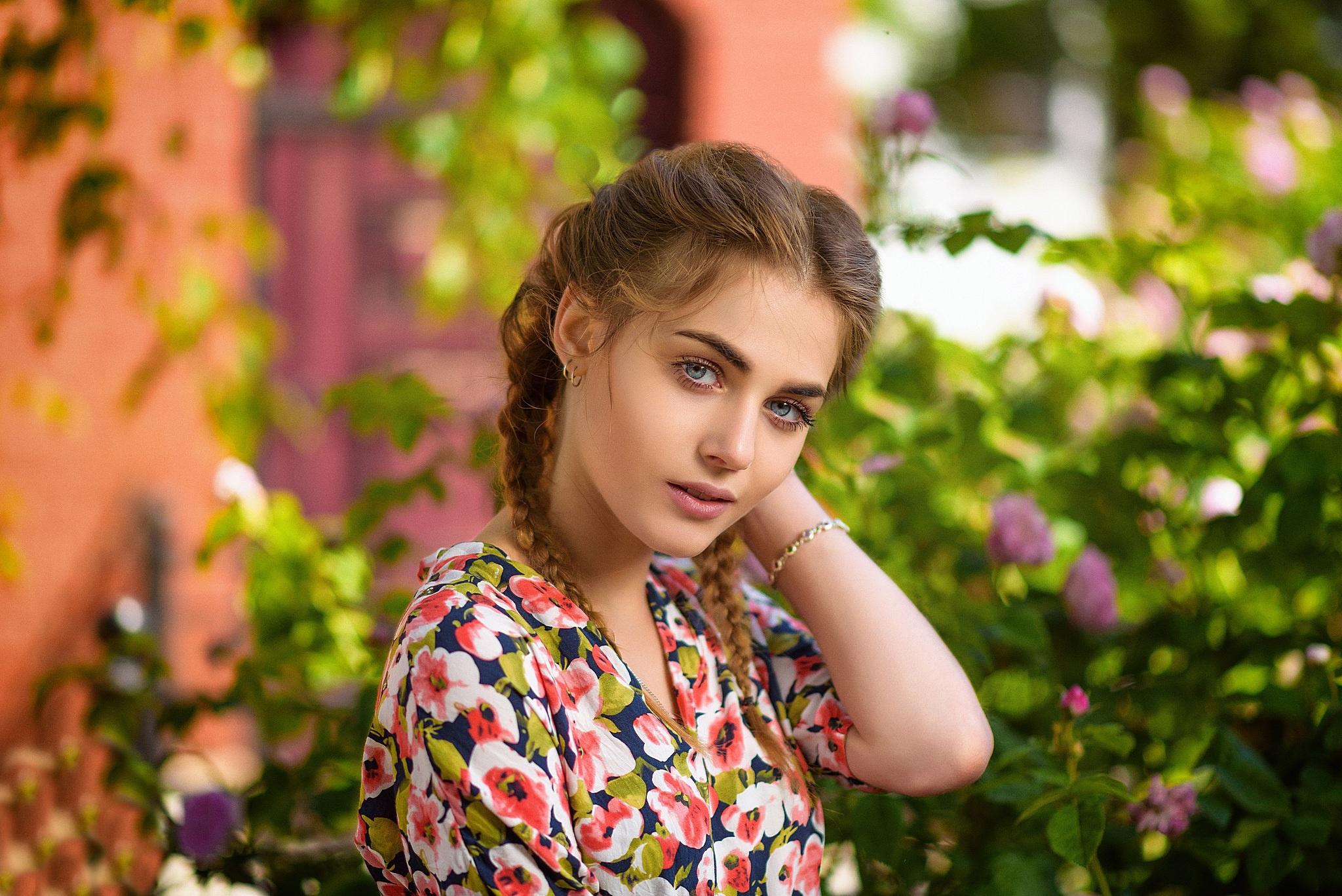Blue Eyes Braid Brunette Depth Of Field Girl Model Woman 2048x1367