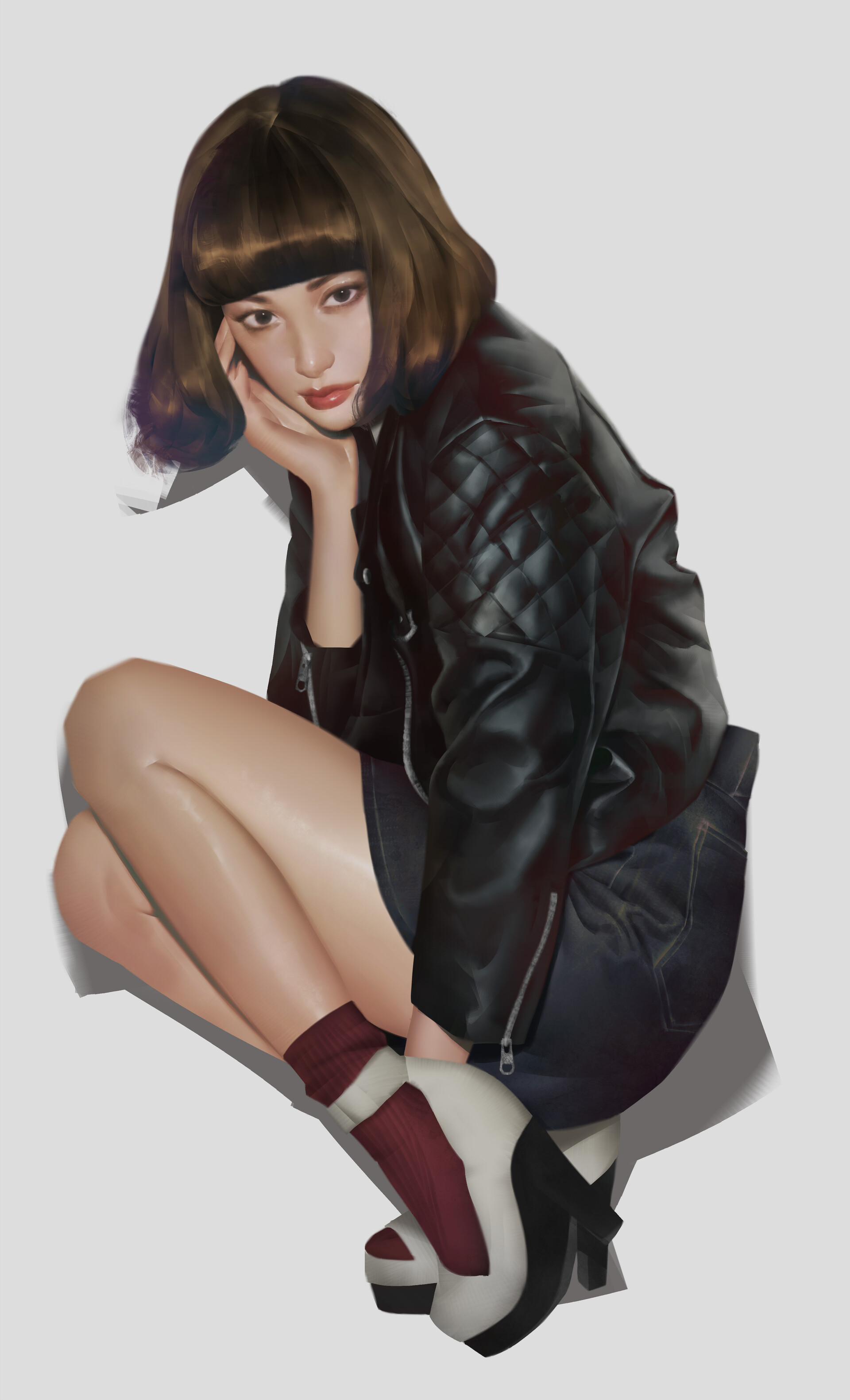 Tim Liu Digital Painting Digital Art Portrait Display Hand On Face Women Short Hair Brunette Legs To 1920x3162