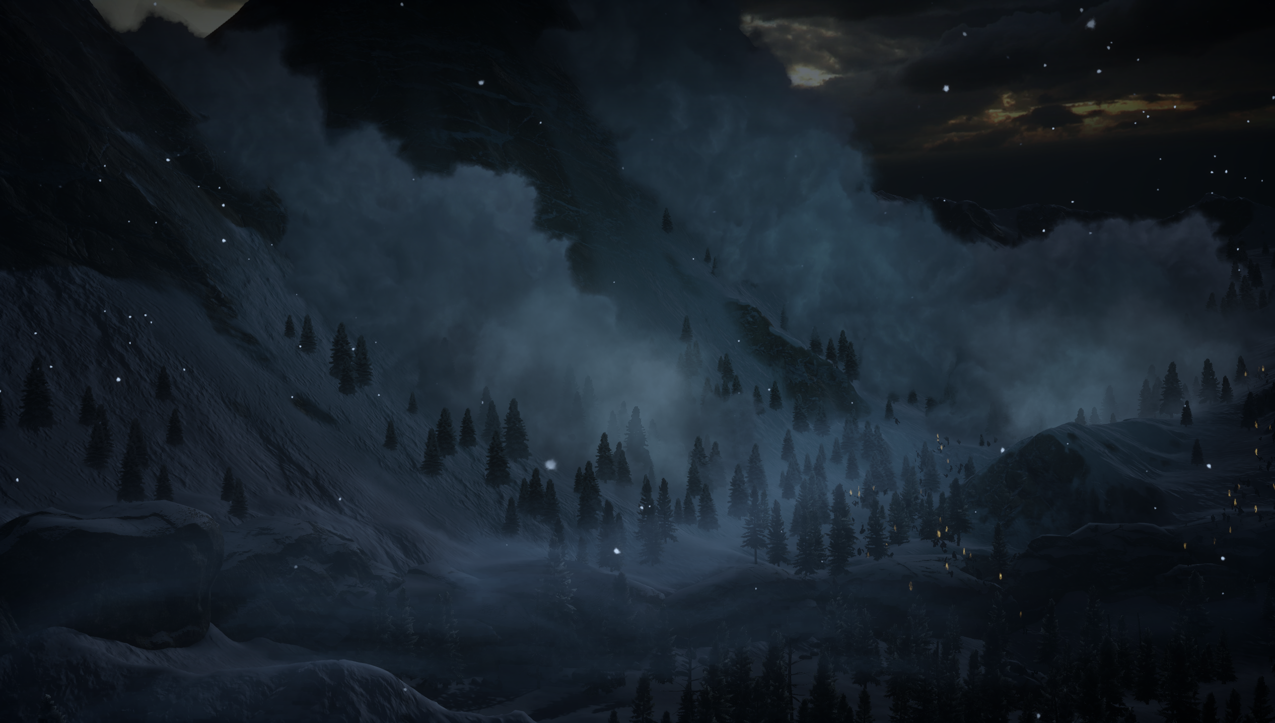 Dragon Age Inquisition Dragon Age Dark Blue Landscape Hill Trees Clouds PC Gaming Snow 2532x1436
