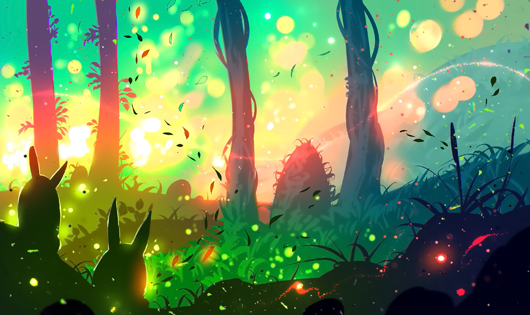 Bunny Forest Sunset Sunshine 2155x1280