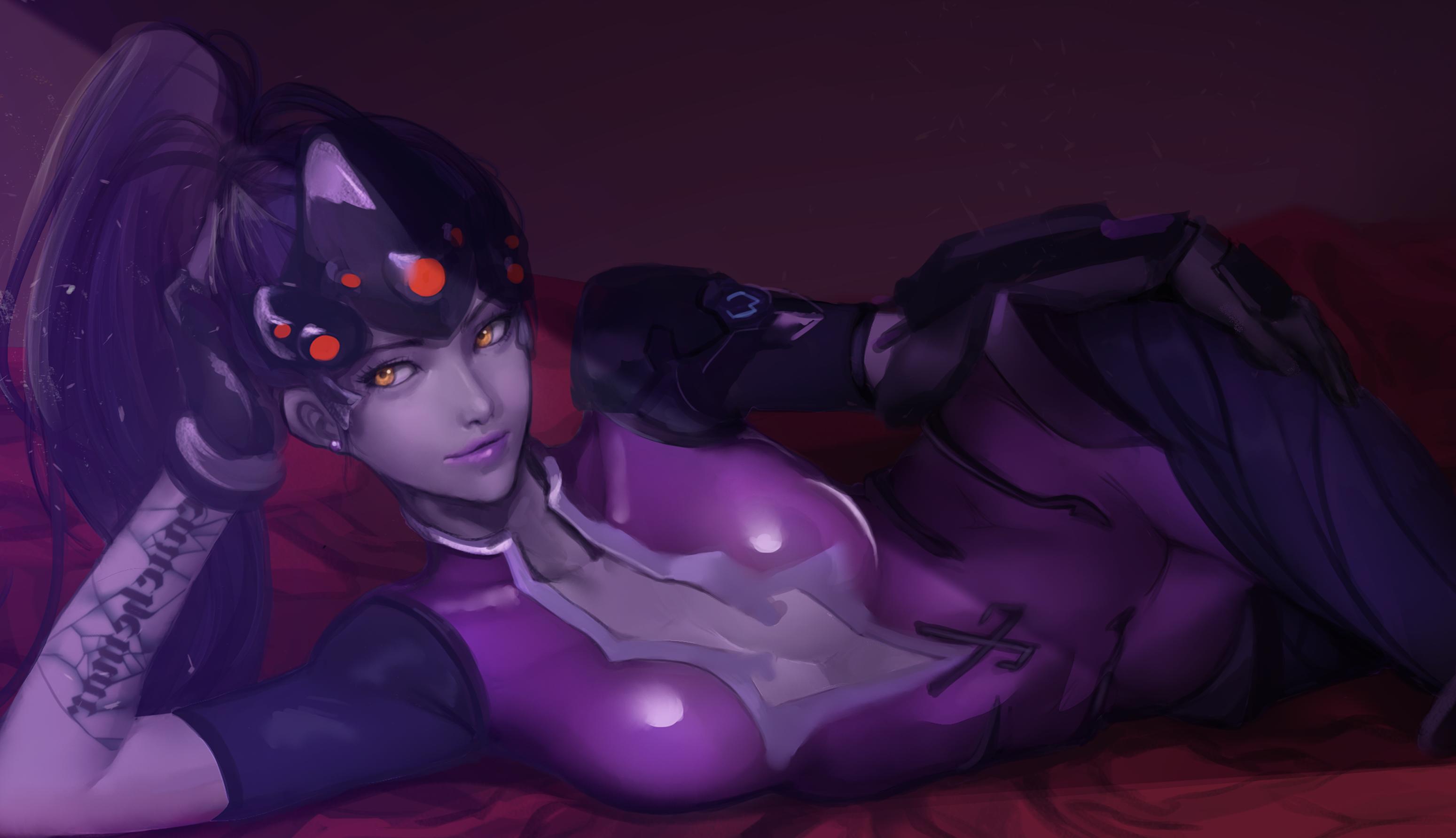 Amelie Lacroix Long Hair Lying Down Overwatch Ponytail Purple Hair Tattoo Widowmaker Overwatch Yello 3098x1784