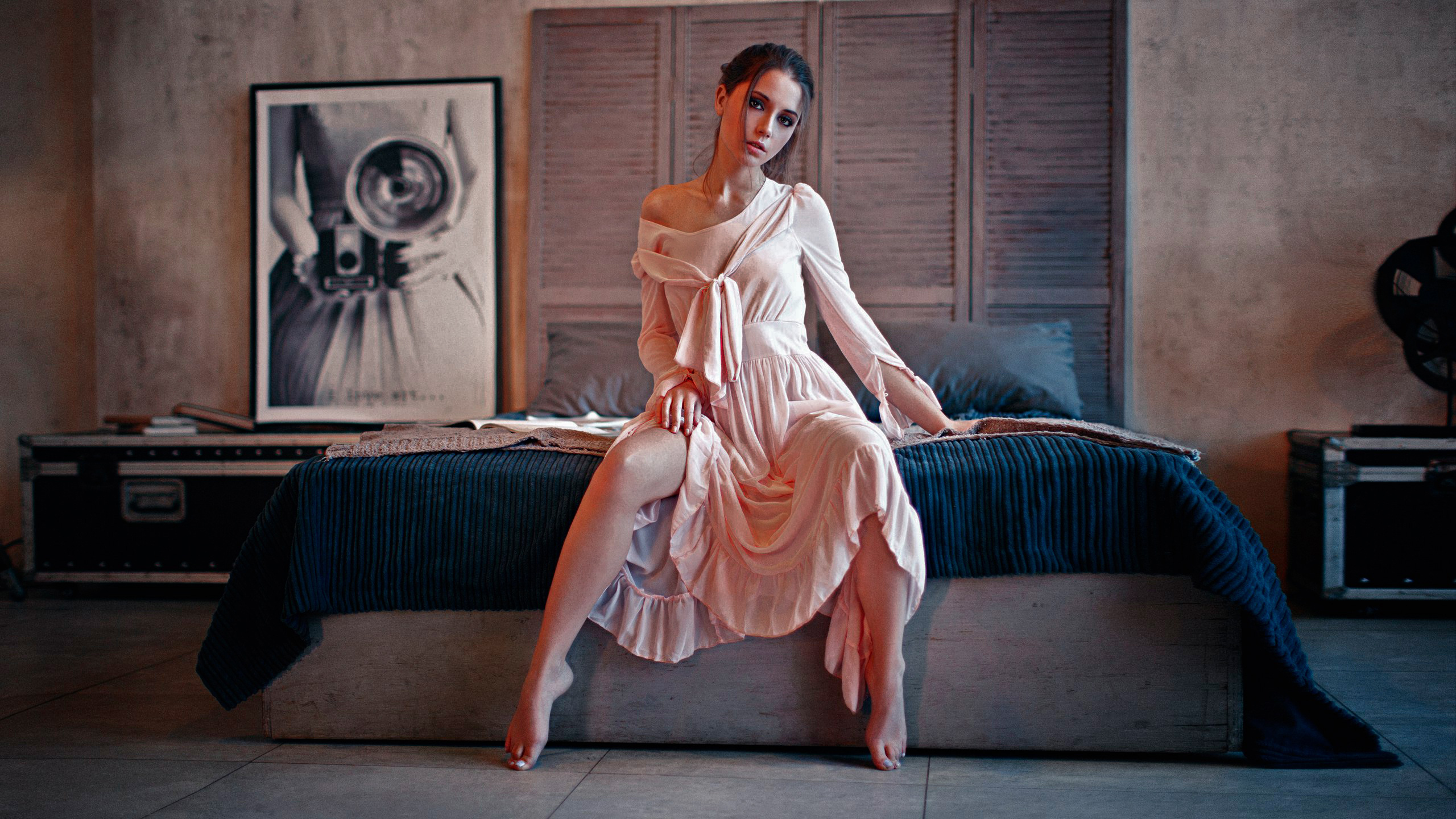 Ksenia Kokoreva Alexey Kishechkin Women Brunette Pink Dress Bed Looking At Viewer Indoors Barefoot S 2560x1440