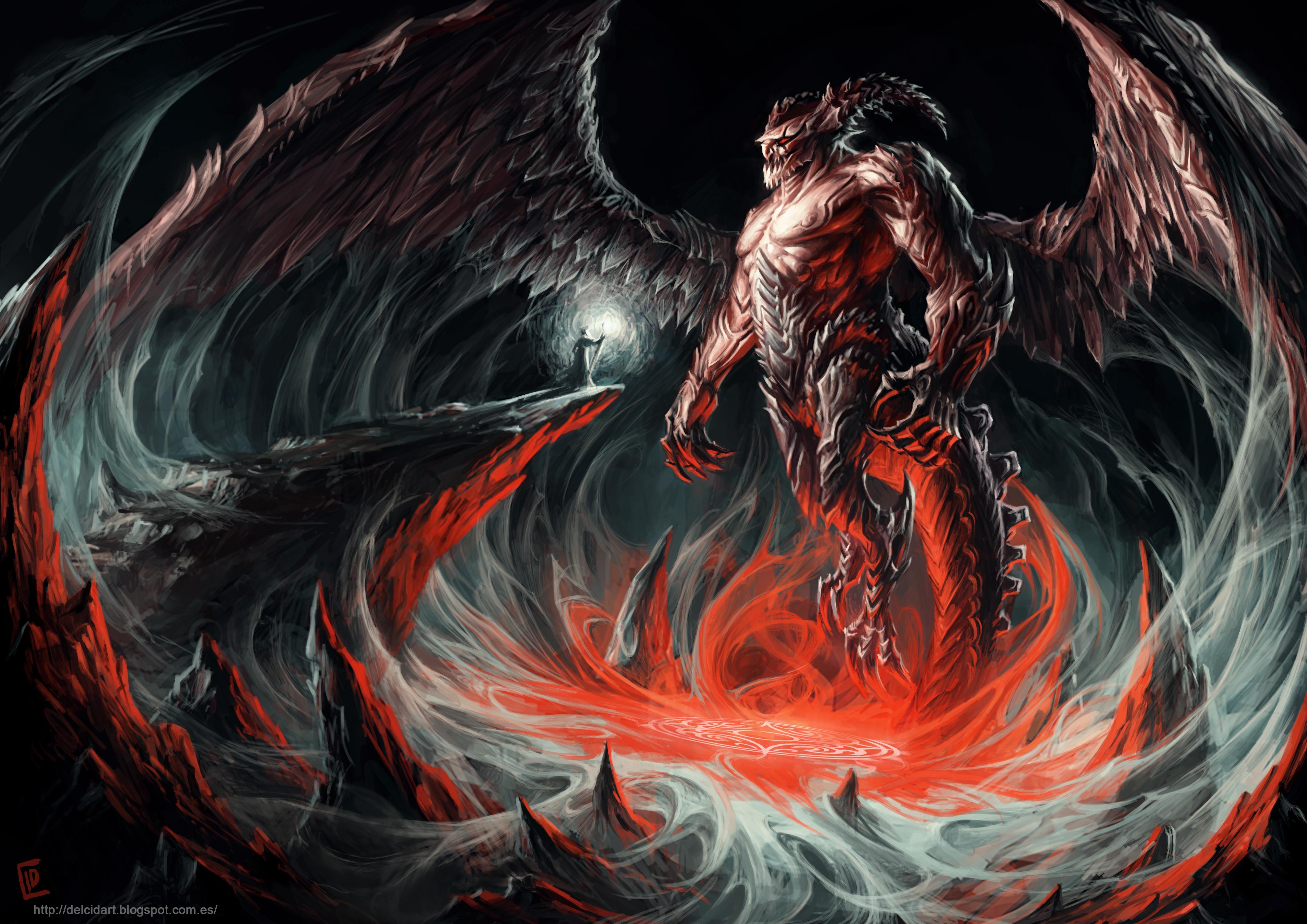 Demon Giant Horns Magic Wings Wizard 4000x2828