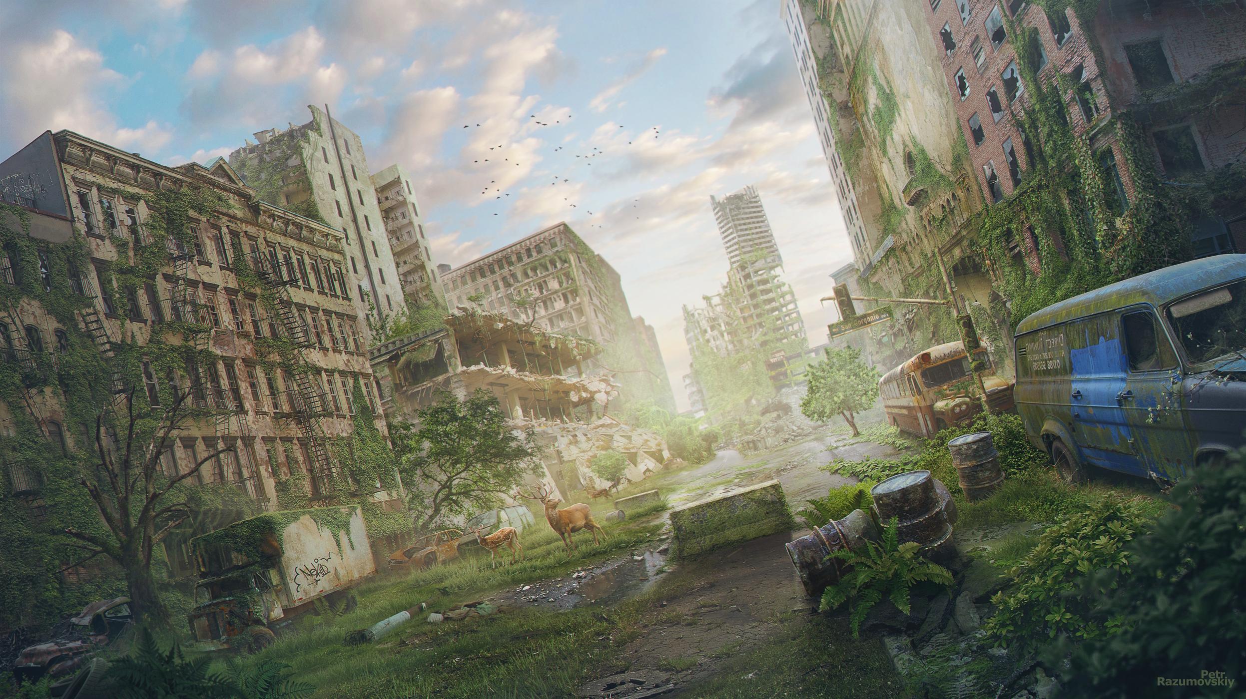 City Post Apocalyptic Ruin 2494x1400