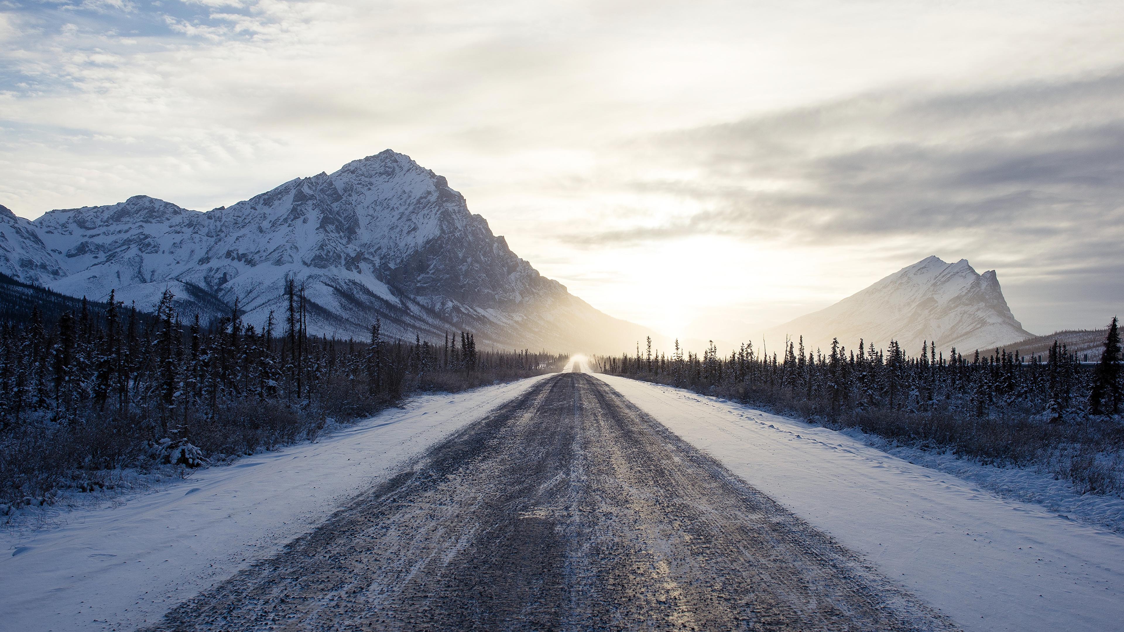 Road Snow Sunrise Winter 3840x2160