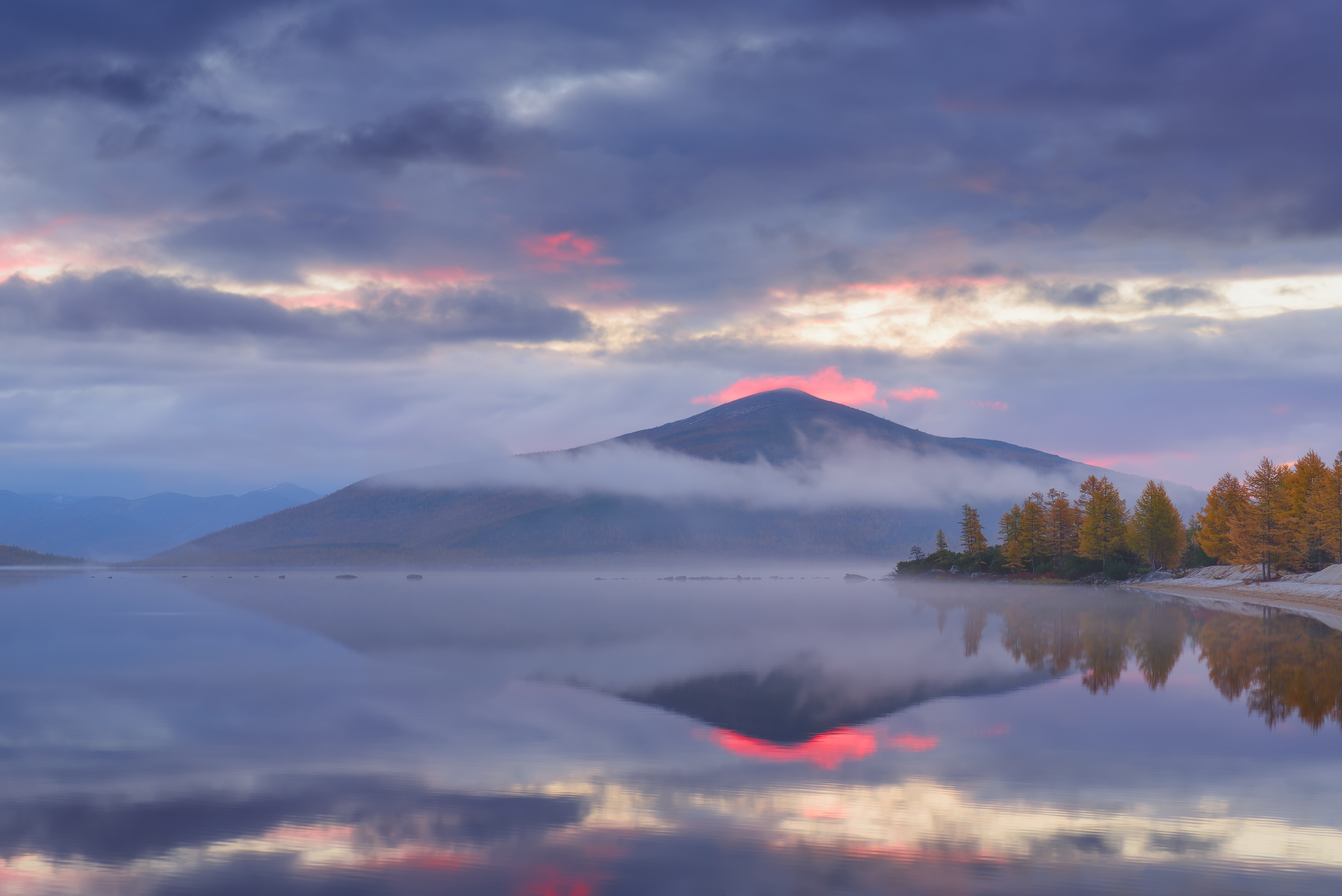 Nature Fall Trees Landscape Sunset Maxim Evdokimov Water Lake Reflection Clouds Forest Hill Mist 35P 2560x1709