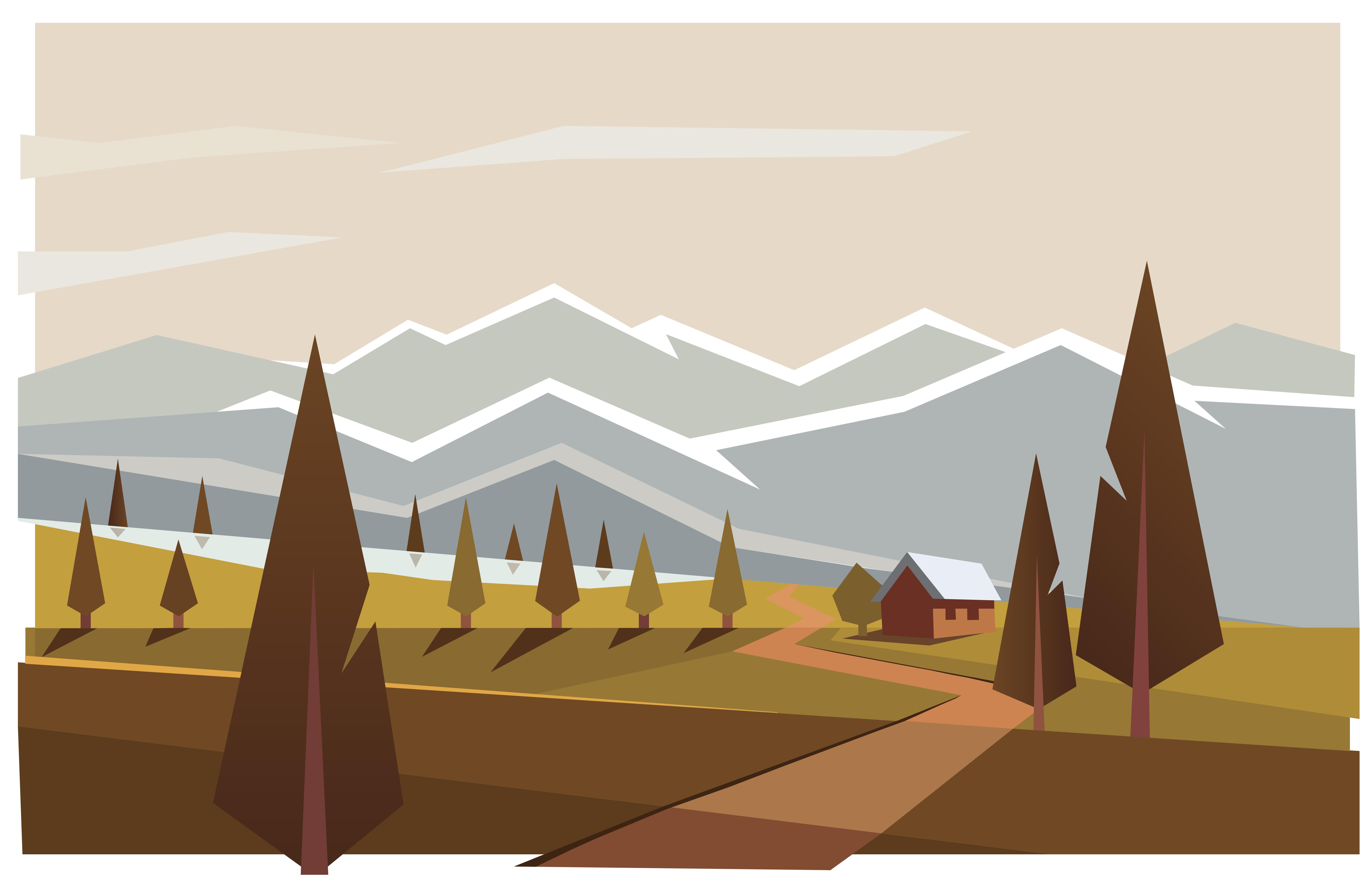 Landscape Minimalist Mountain Tree 9381x6104