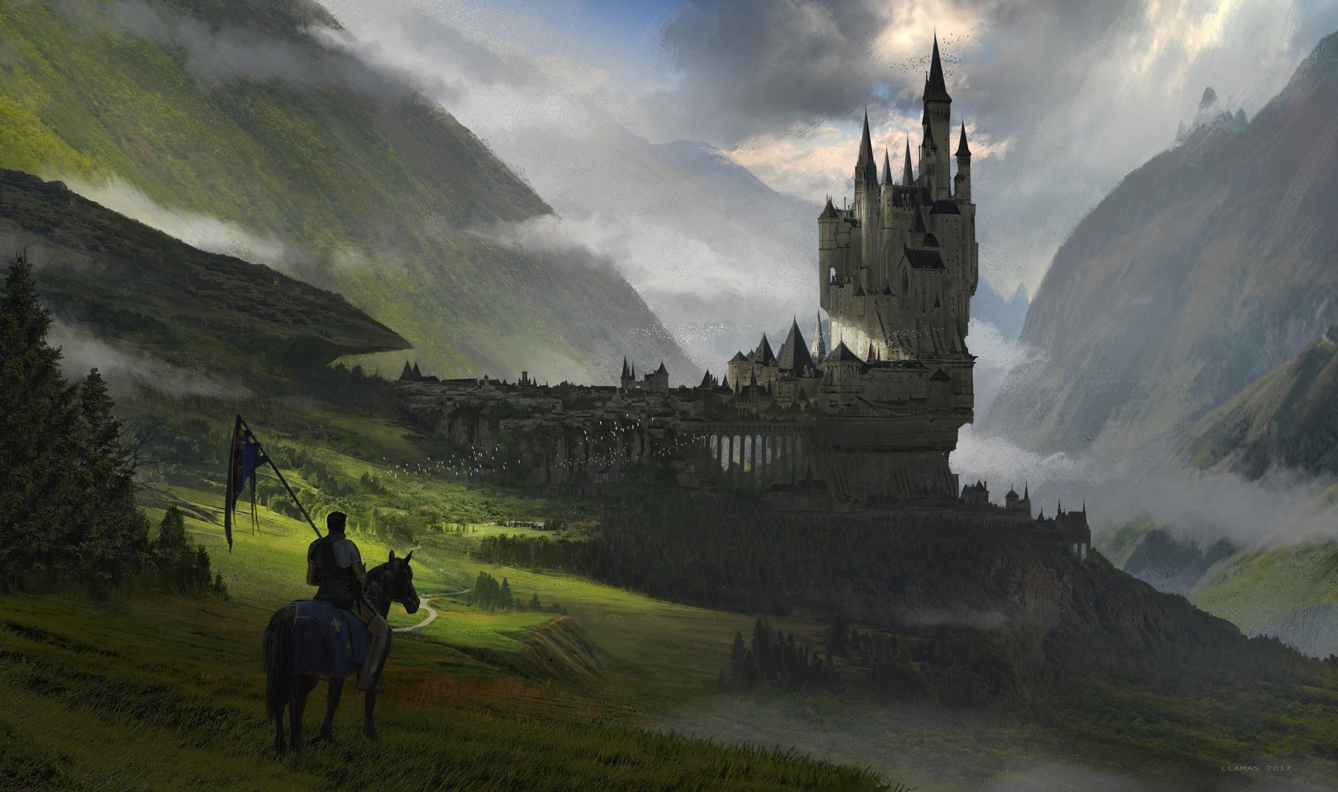 Castle City Fog Horse Landscape Warrior 1920x1137
