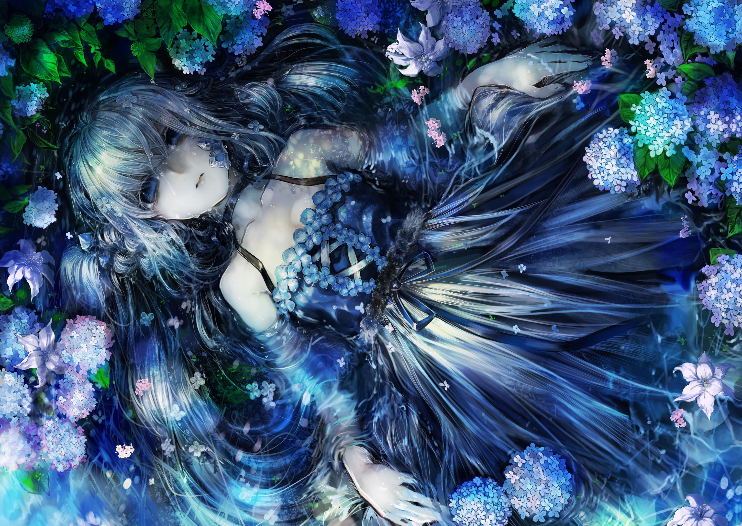 Blue Eyes Dress Flower Girl Long Hair White Hair 3035x2150