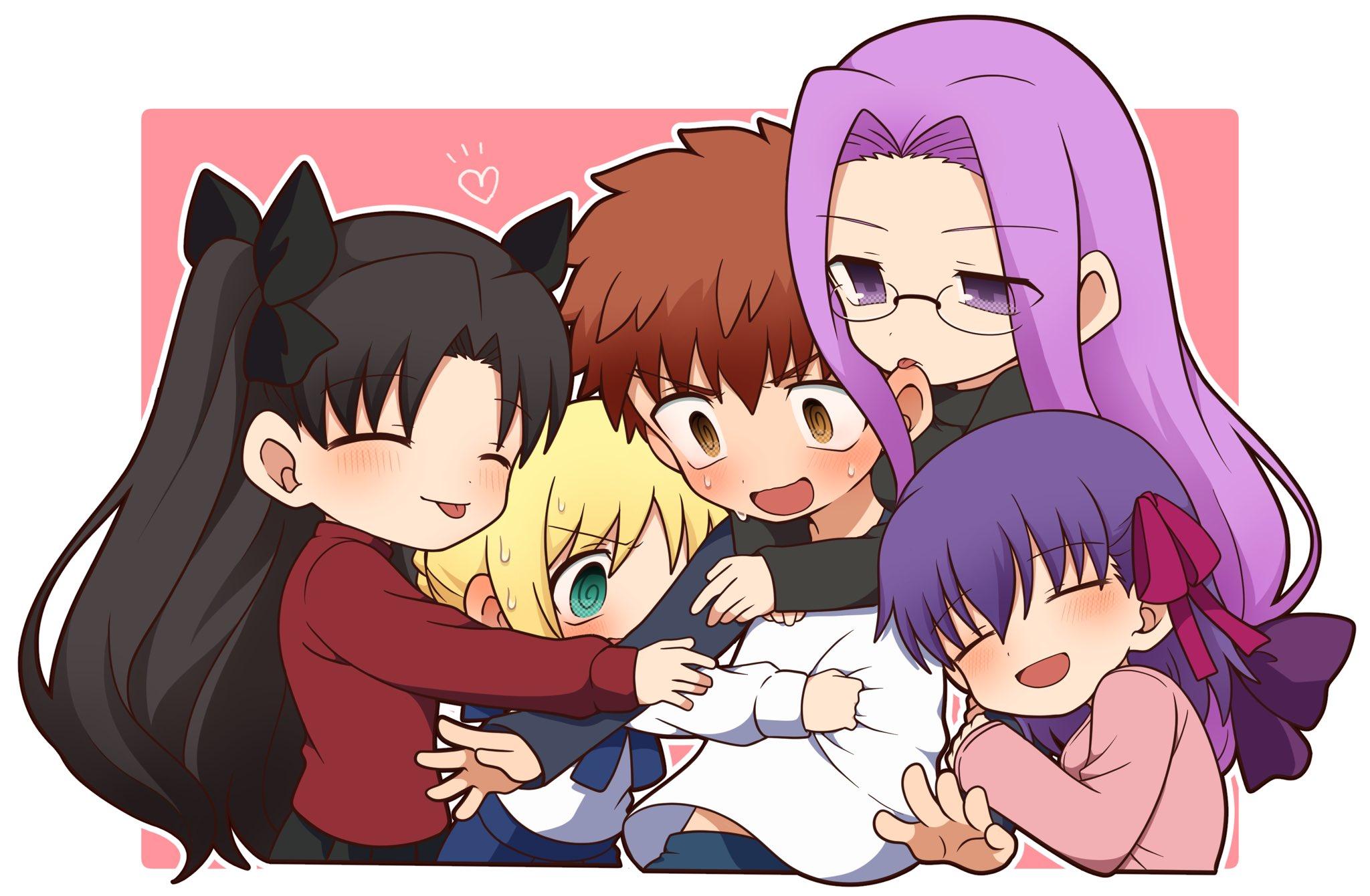 Fate Series Fate Stay Night Fate Stay Night Heavens Feel Anime Girls Anime Boys Chibi Hugging Twinta 2048x1340