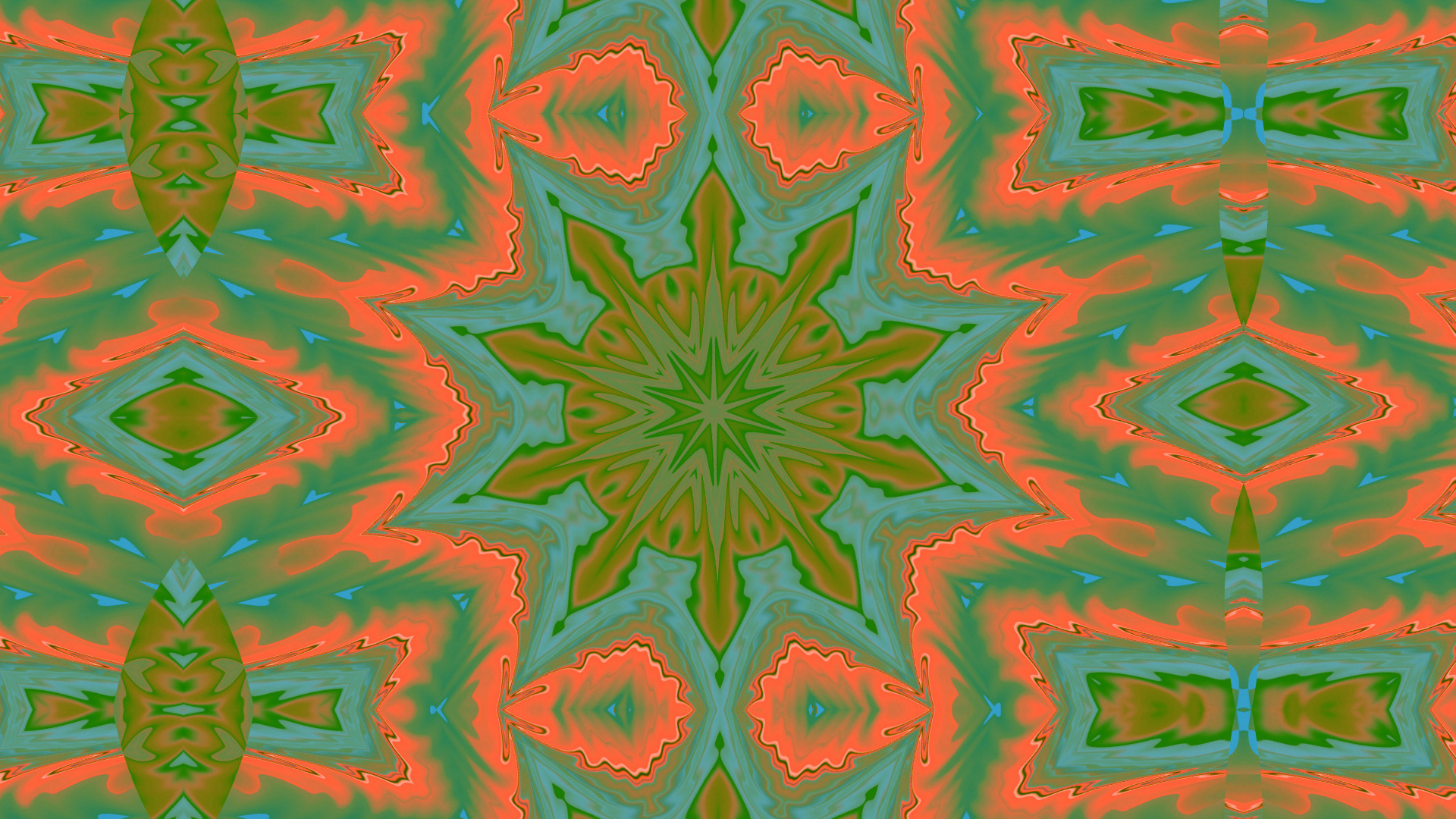 Artistic Colors Digital Art Green Kaleidoscope Pattern Psychedelic Orange Color 1920x1080