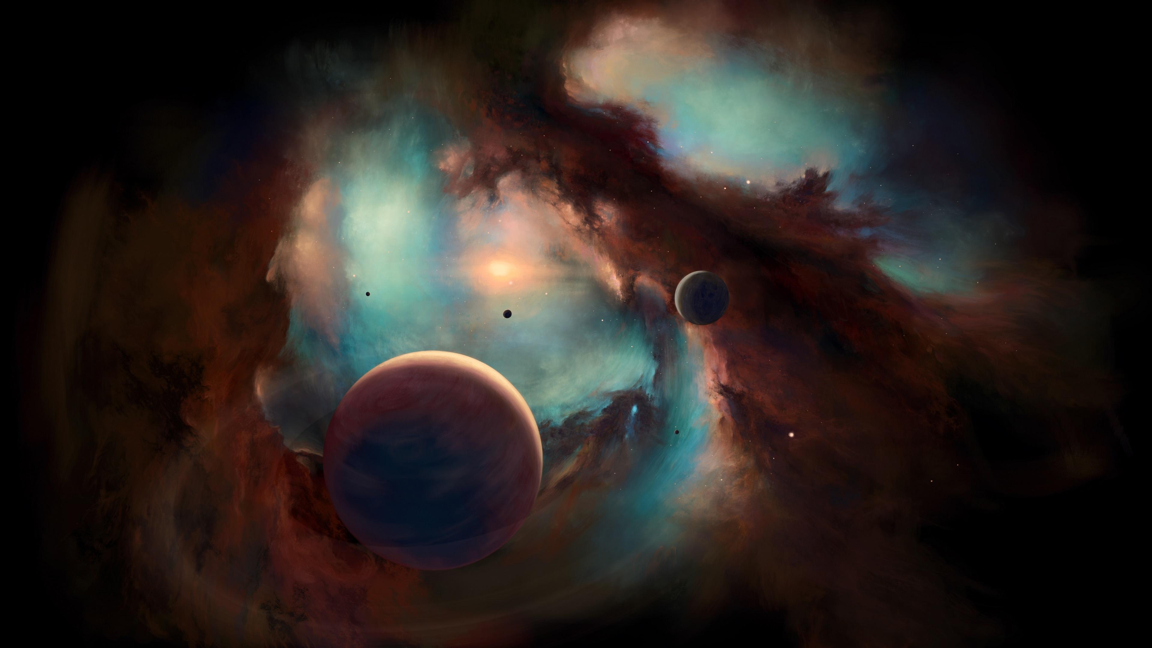 Stars Nebula Planet Universe Moon Space Smoke Horizon Galaxy Andromeda Helix Nebula Milky Way 3839x2160