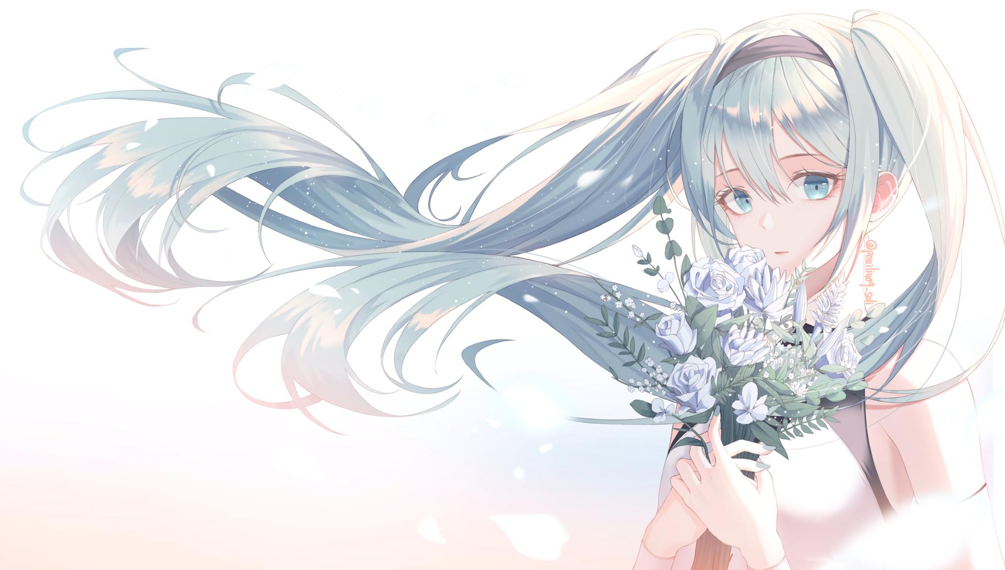 Blue Eyes Blue Hair Girl Hatsune Miku Long Hair Vocaloid 2048x1162