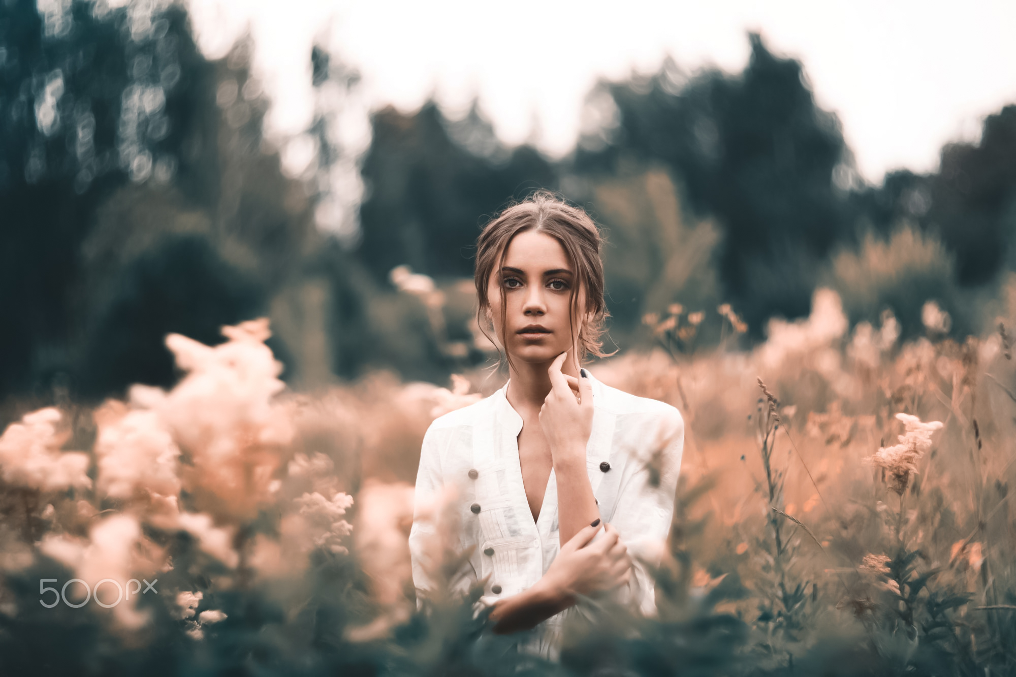 Yuri Egoroff Women Ksenia Kokoreva Brunette White Clothing Makeup Looking At Viewer Eyeshadow Nature 2000x1333