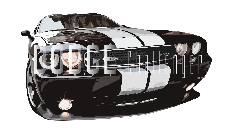 Artistic Black Car Car Digital Art Dodge Dodge Challenger Dodge Challenger Srt8 3000x1688