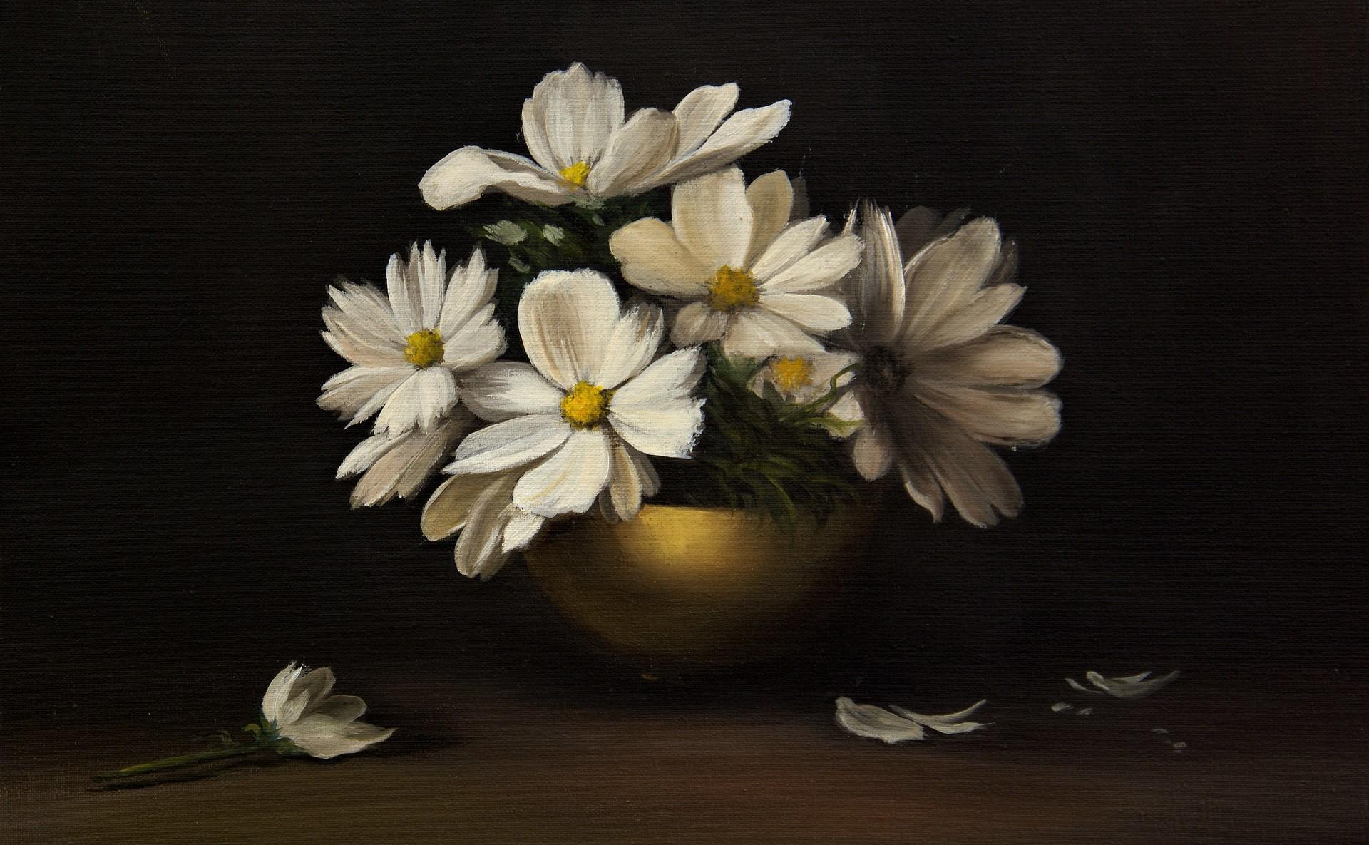Bowl Flower Painting Still Life White Flower 1920x1185