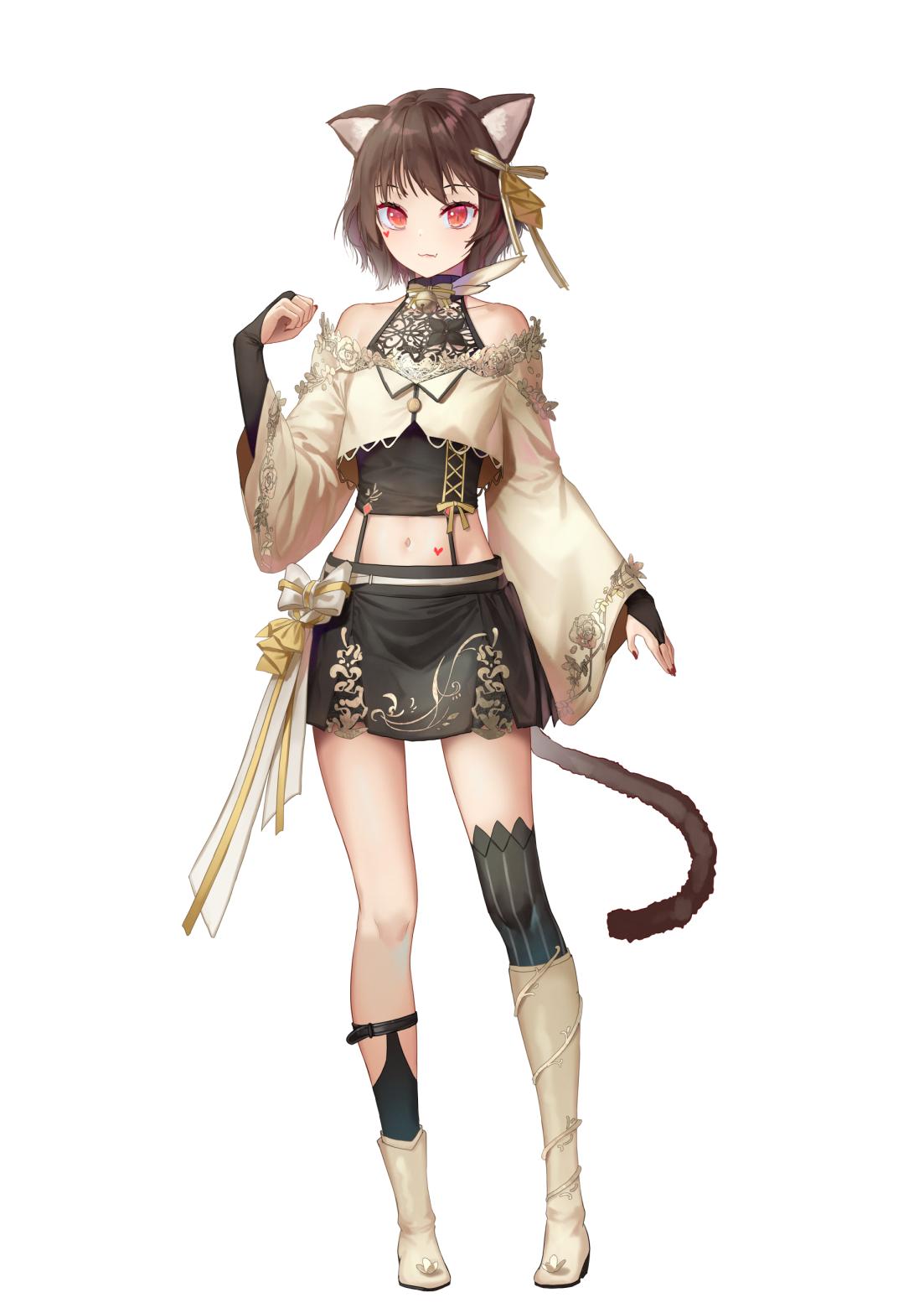 Anime Anime Girls Digital Art Artwork 2D Portrait Display Vertical Saraki Animal Ears Tail Cat Girl  1103x1560