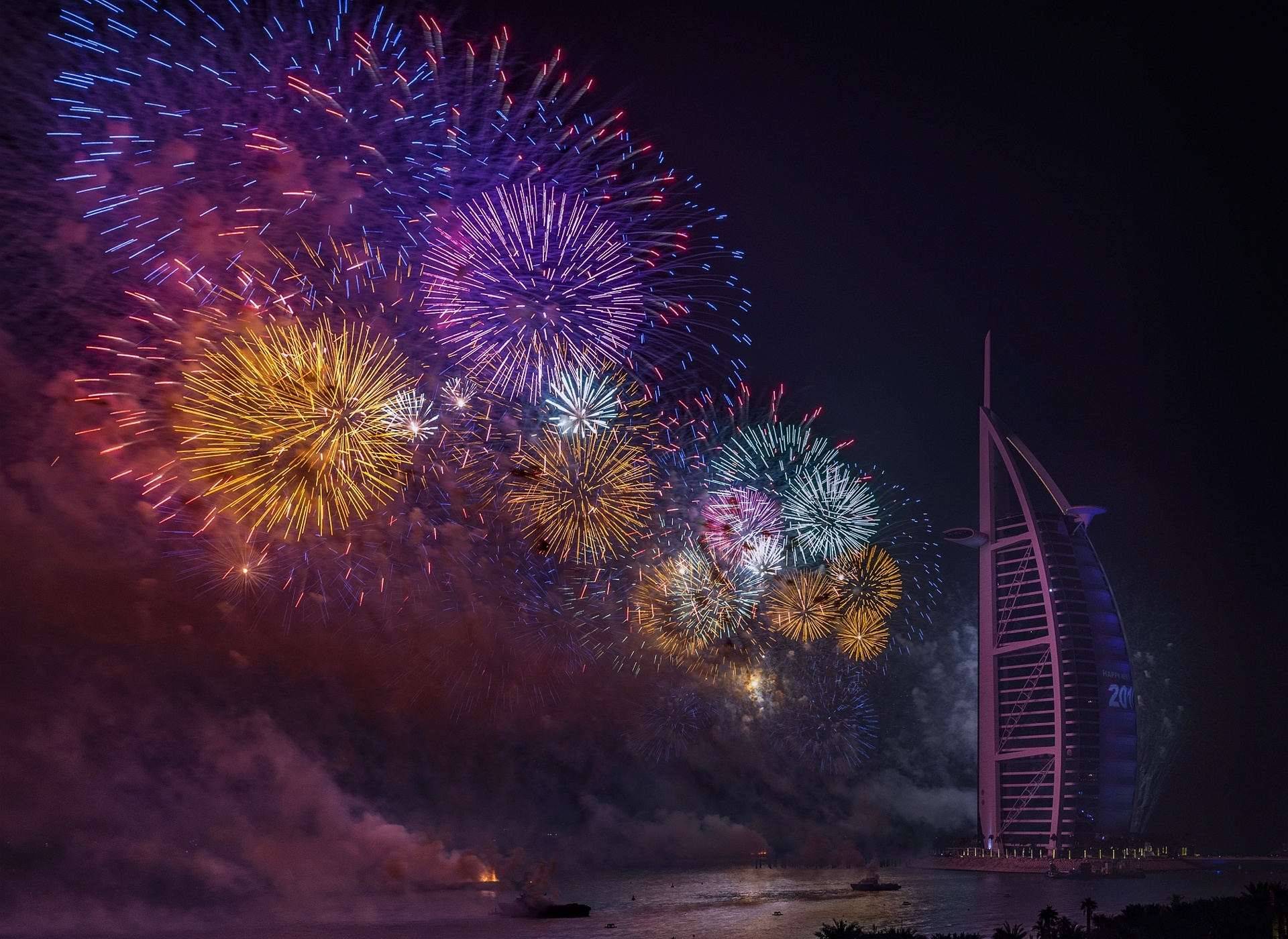 Building Burj Al Arab Dubai Fireworks Night United Arab Emirates 1920x1400